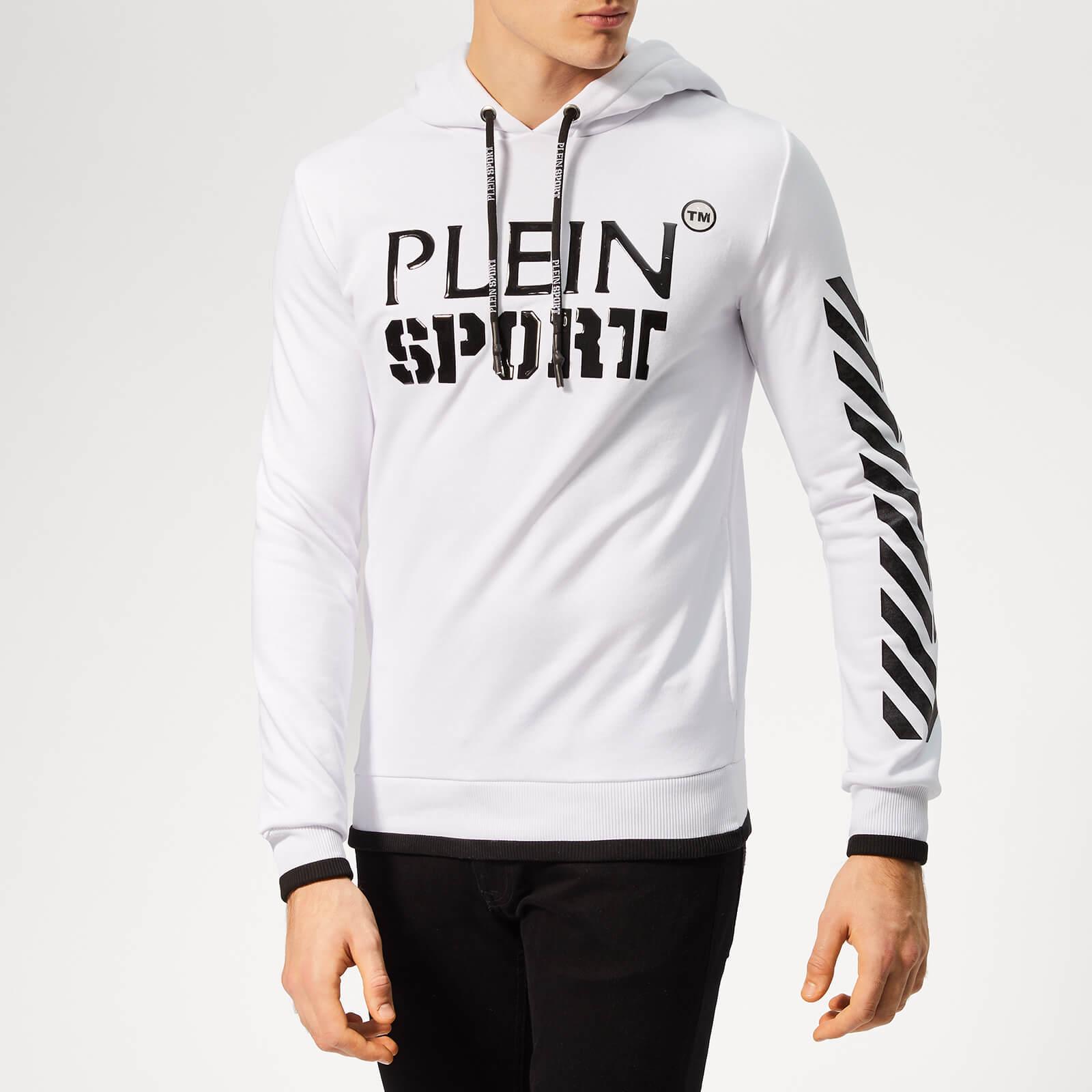 Plein Sport Men's Geometric Stripes Hooded Sweatshirt - White - XXL - White