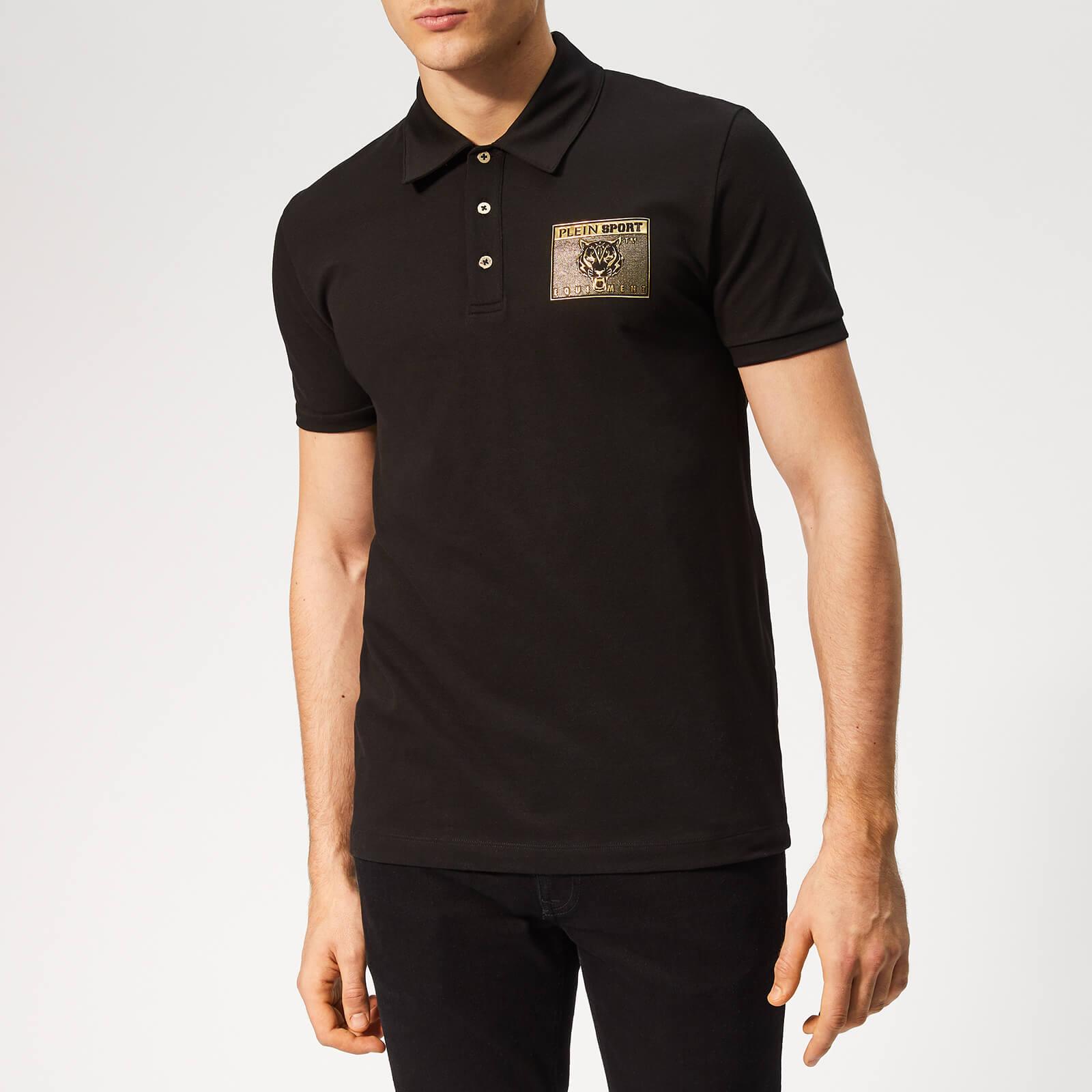 Plein Sport Men's Metal Sport Polo-Shirt - Black/Gold - S - Black/Gold