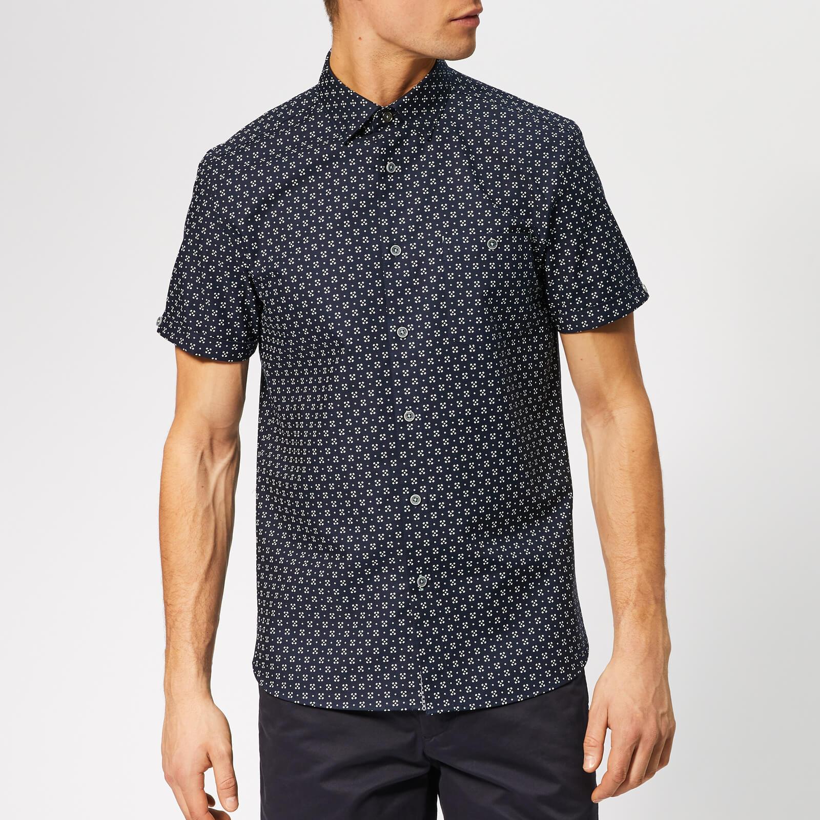 Ted Baker Men's Polarbe Short Sleeve Shirt - Navy - 2/S - Blue