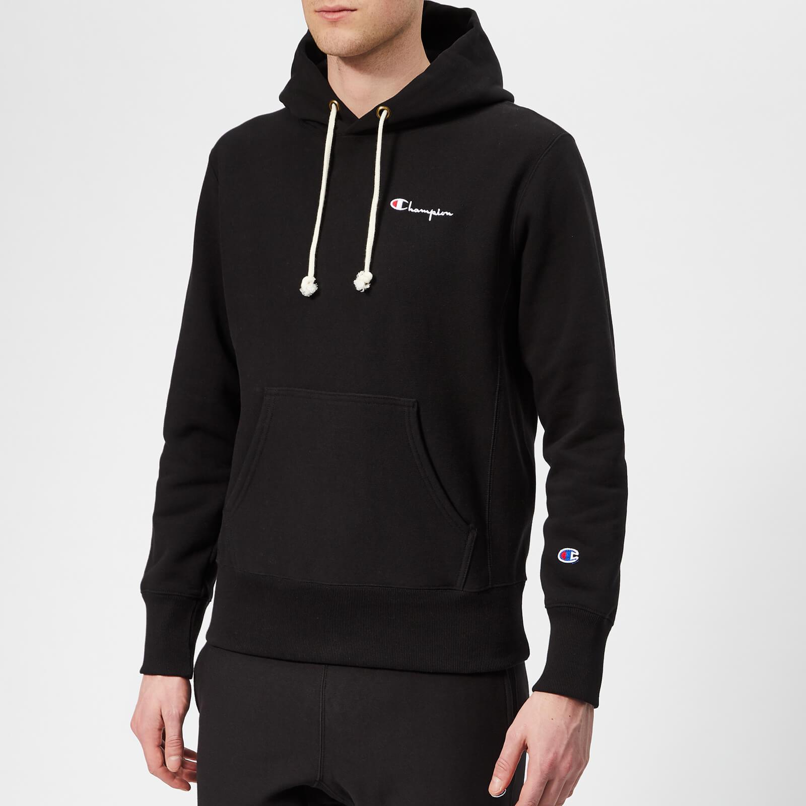 Champion Men's Small Logo Hooded Sweatshirt - Black - S