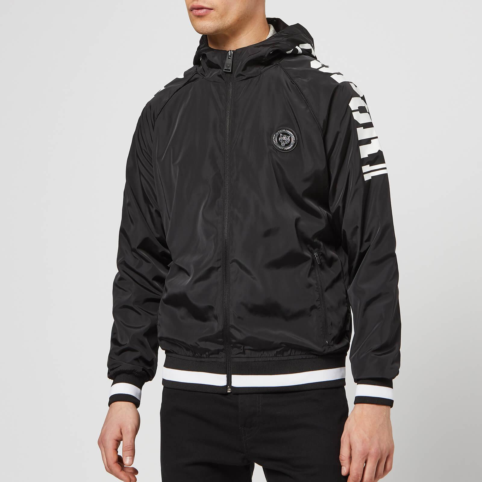 Plein Sport Men's Nylon Jacket Statement - Black/White - L - Black/White