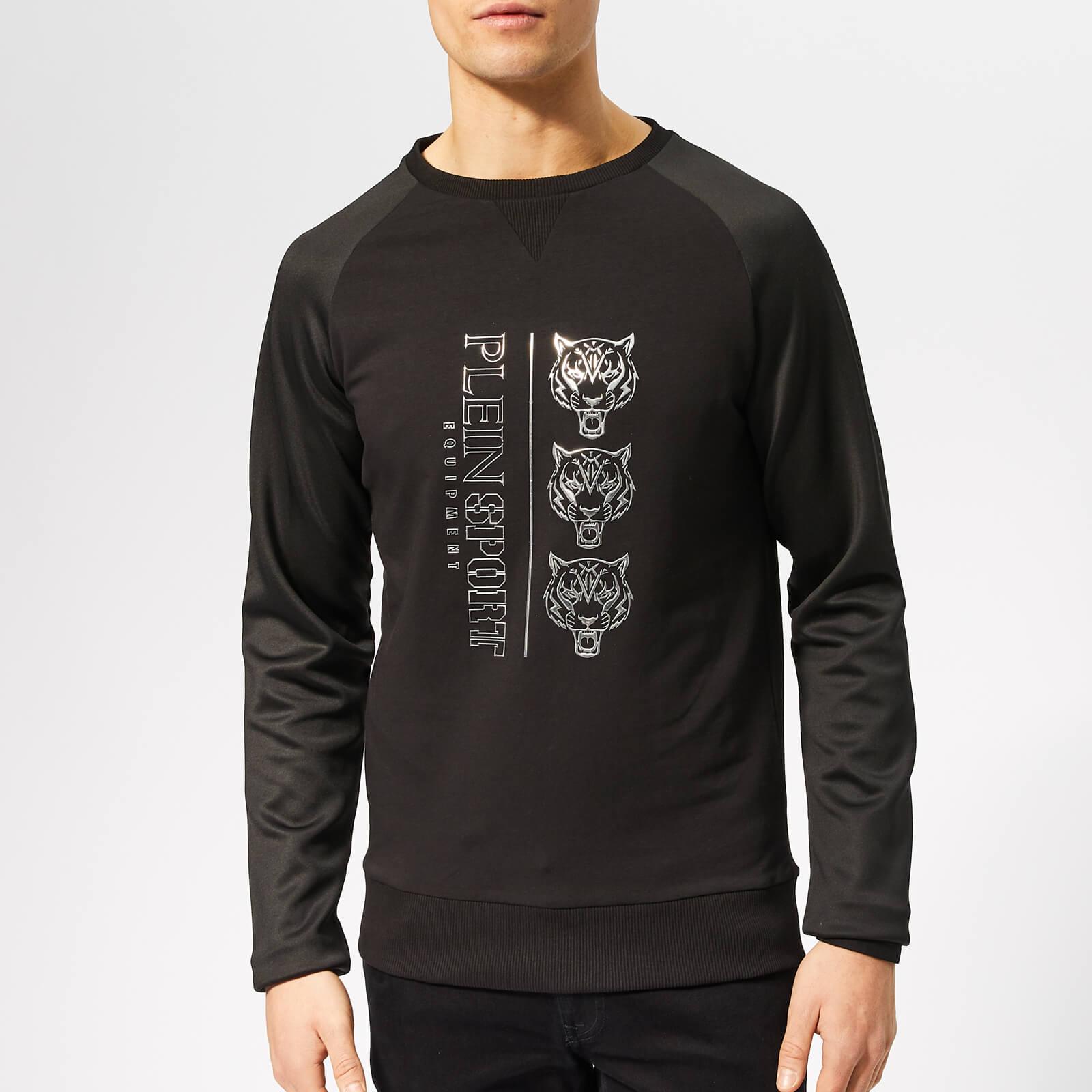 Plein Sport Men's Sweatshirt Long Sleeve Tiger - Black/Silver - XXL - Black/Silver