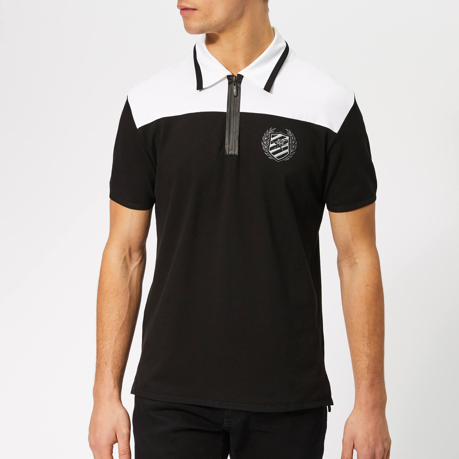 Plein Sport Men's Logos Polo Shirt - Black/Silver - XL - Black/Silver