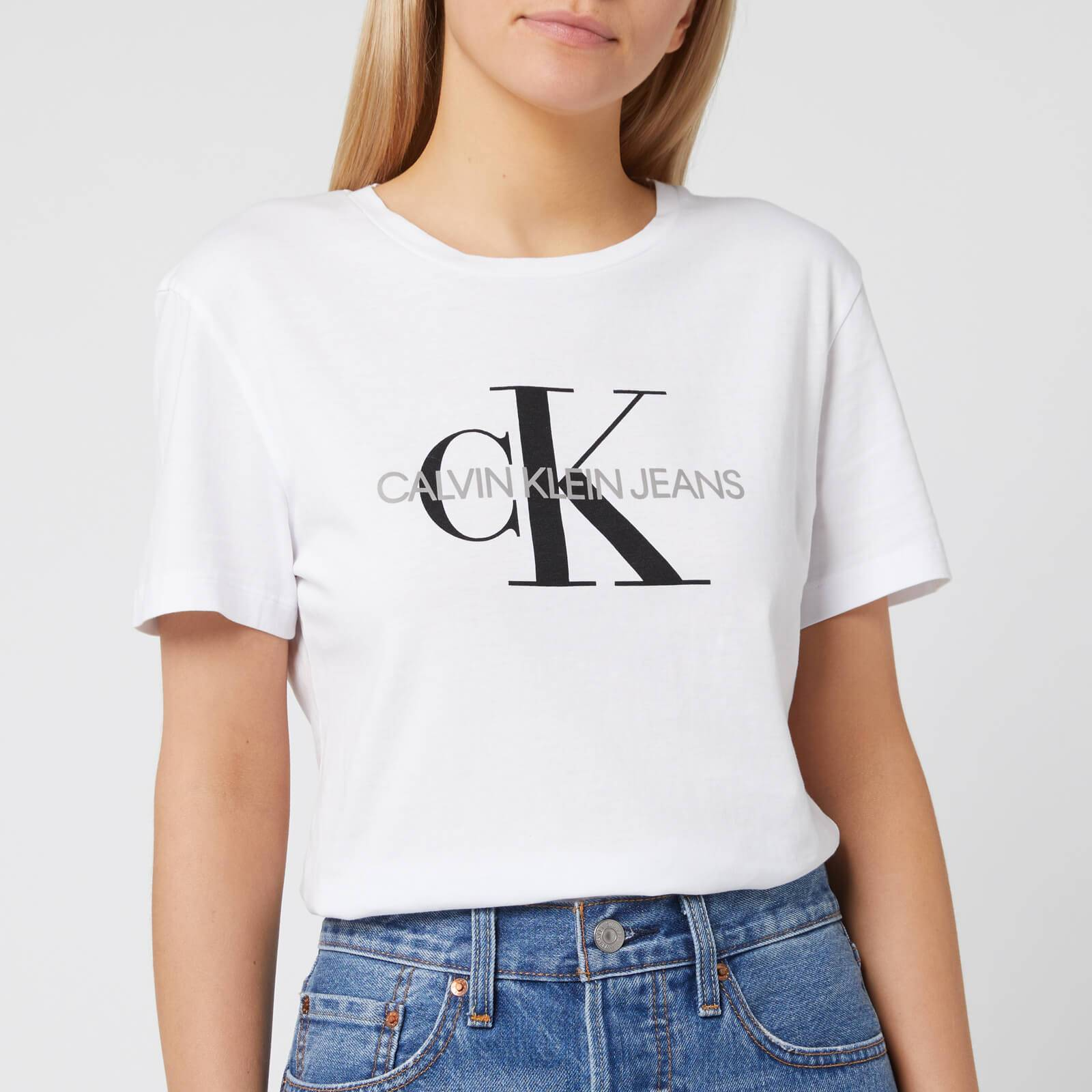 Calvin Klein Jeans Women's Monogram Logo Regular Fit T-Shirt - Bright White - XS