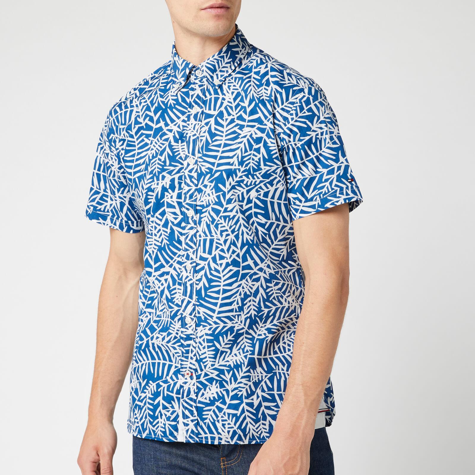 Tommy Hilfiger Men's Slim Large Leaf Print Shirt - Blue Quartz/Snow White - XL - Blue