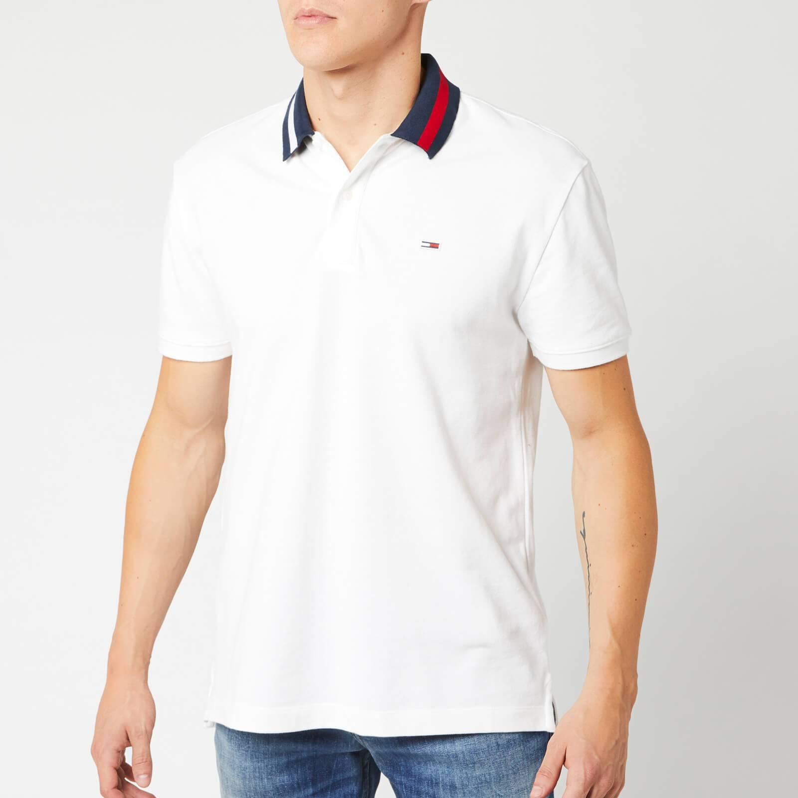 Tommy Jeans Men's Flag Neck Polo Shirt - Classic White - M - White
