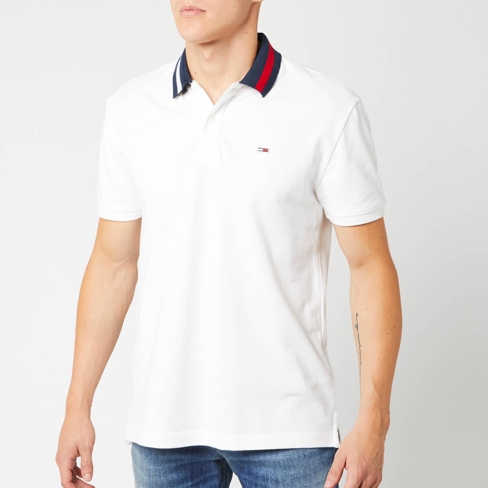 Tommy Jeans Men's Flag Neck Polo Shirt - Classic White - S - White