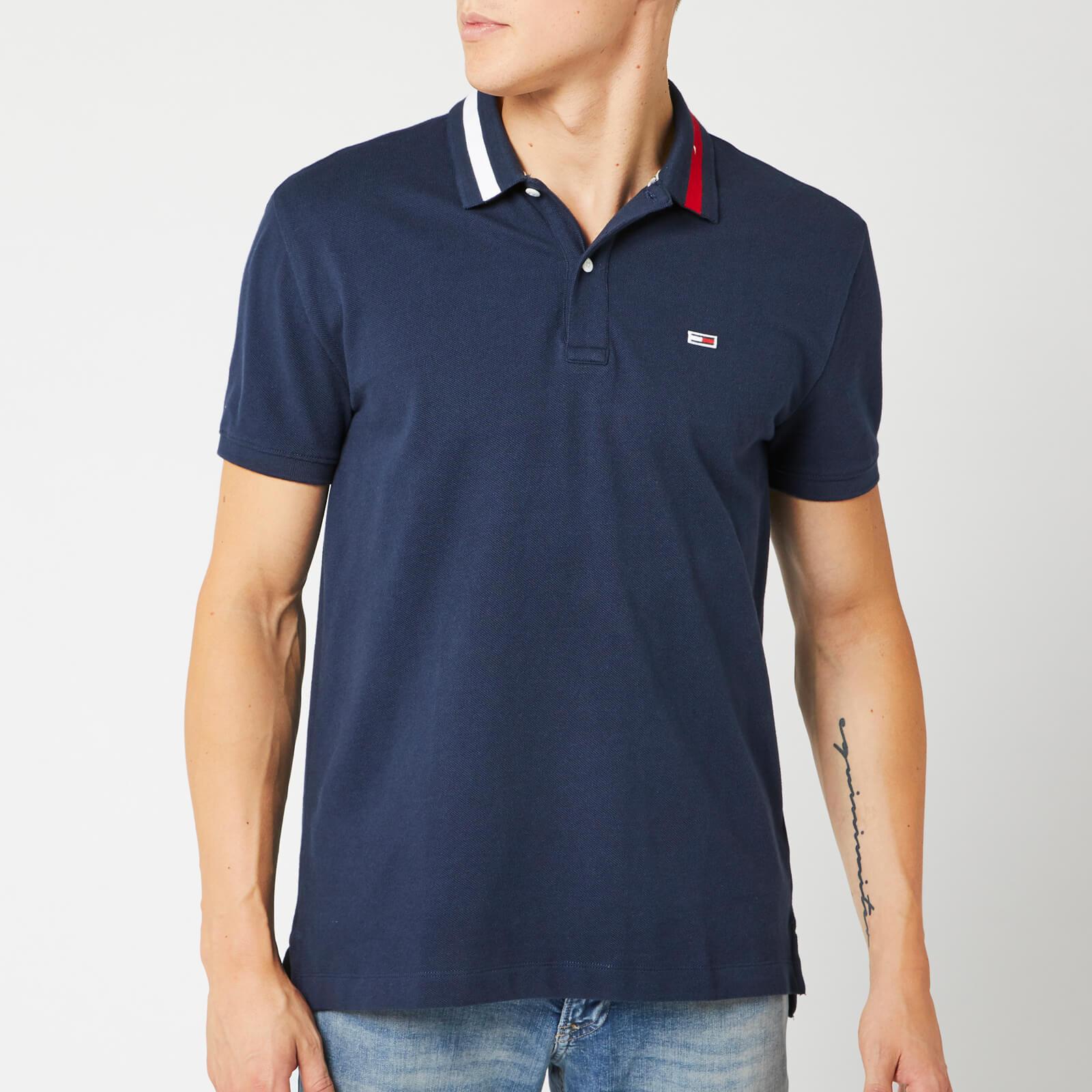 Tommy Jeans Men's Flag Neck Polo Shirt - Black Iris - L - Blue