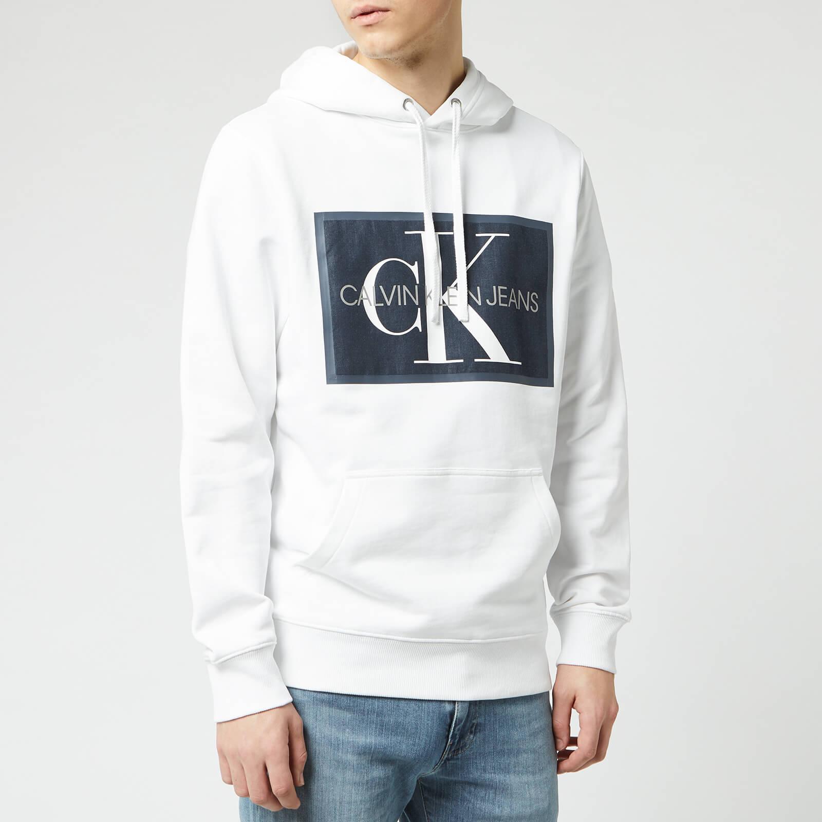 Calvin Klein Jeans Men's Monogram Patch Hoodie - Bright White - XXL - White