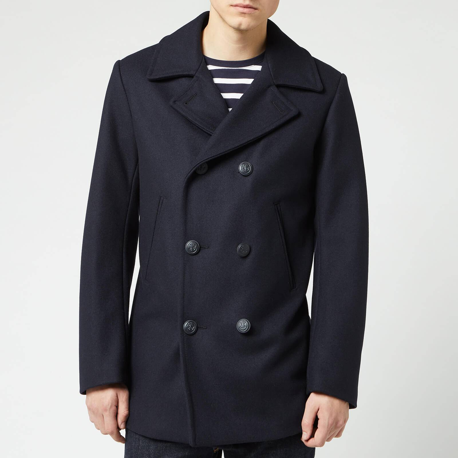 Armor Lux Men's Caban Wool Coat - Navire - EU 38/S - Blue