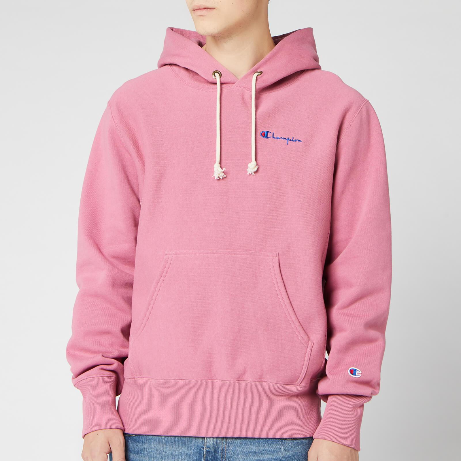 Champion Men's Small Script Hooded Sweatshirt - Pink - L