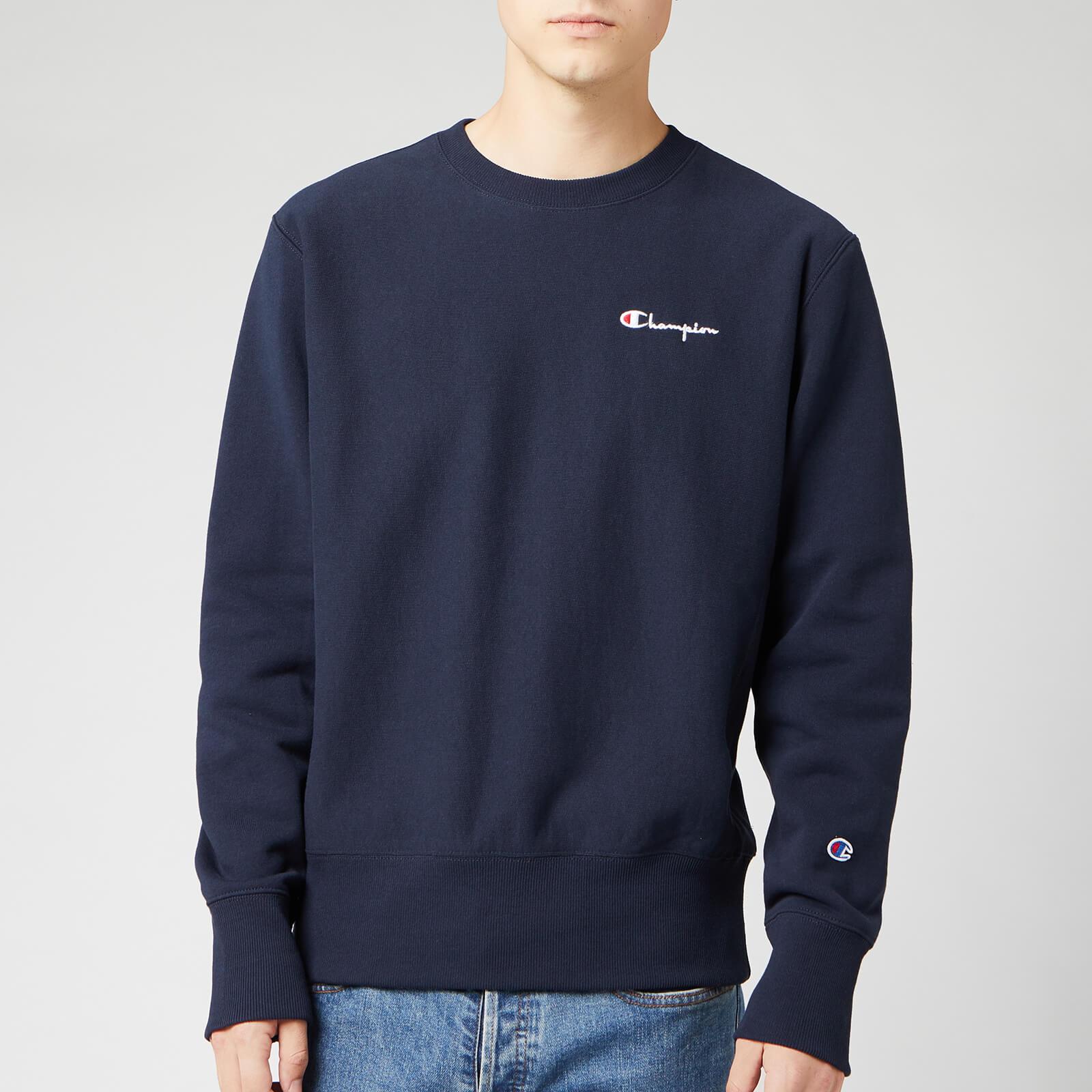 Champion Men's Small Script Sweatshirt - Navy - XL