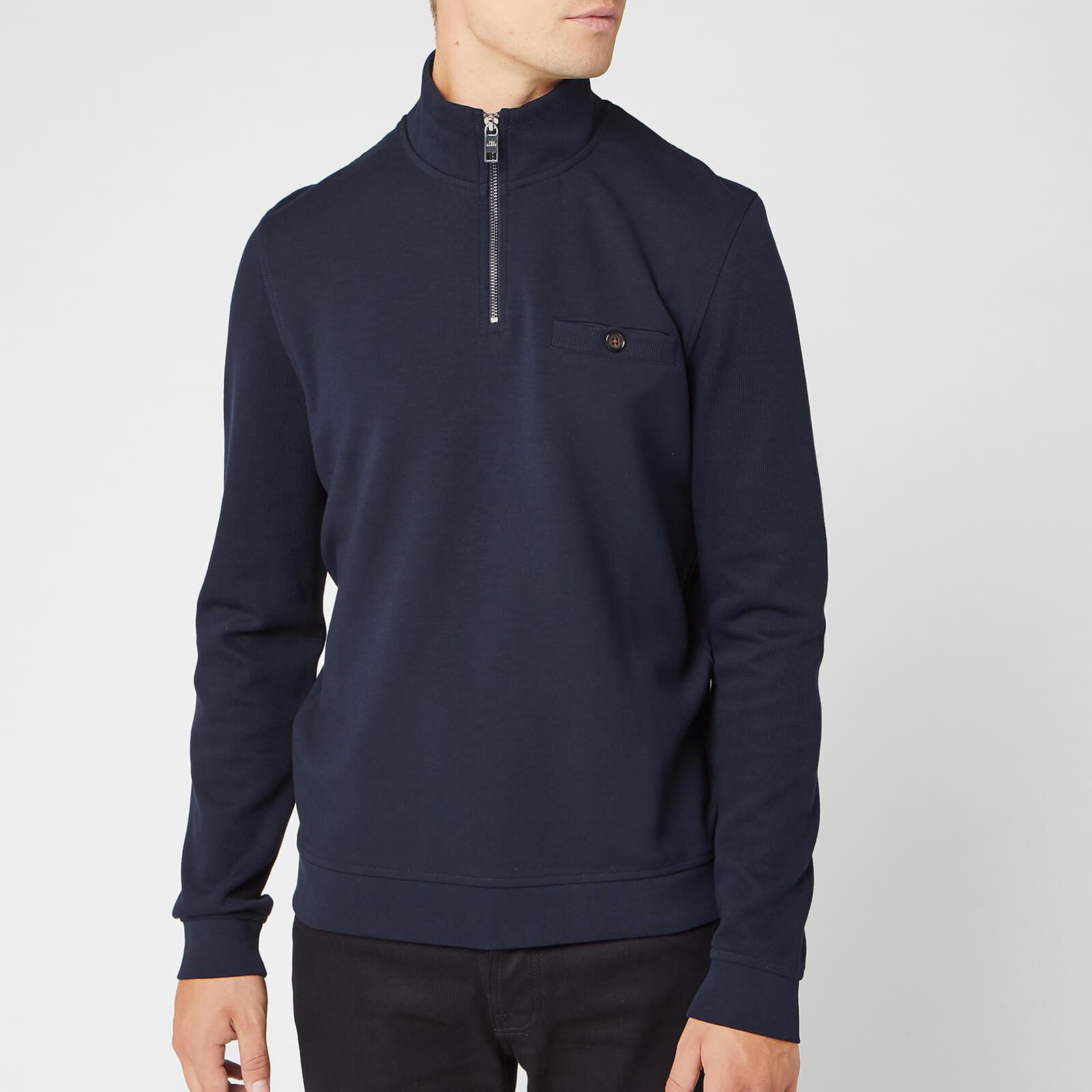 Ted Baker Men's Muggie Half Zip Funnel Neck Sweatshirt - Navy - XXL/6