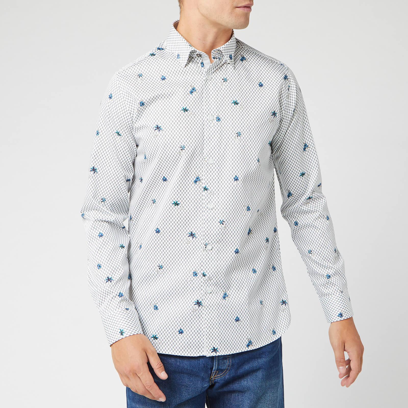 Ted Baker Men's Richrd Floral Geo Print Shirt - White - XL/5