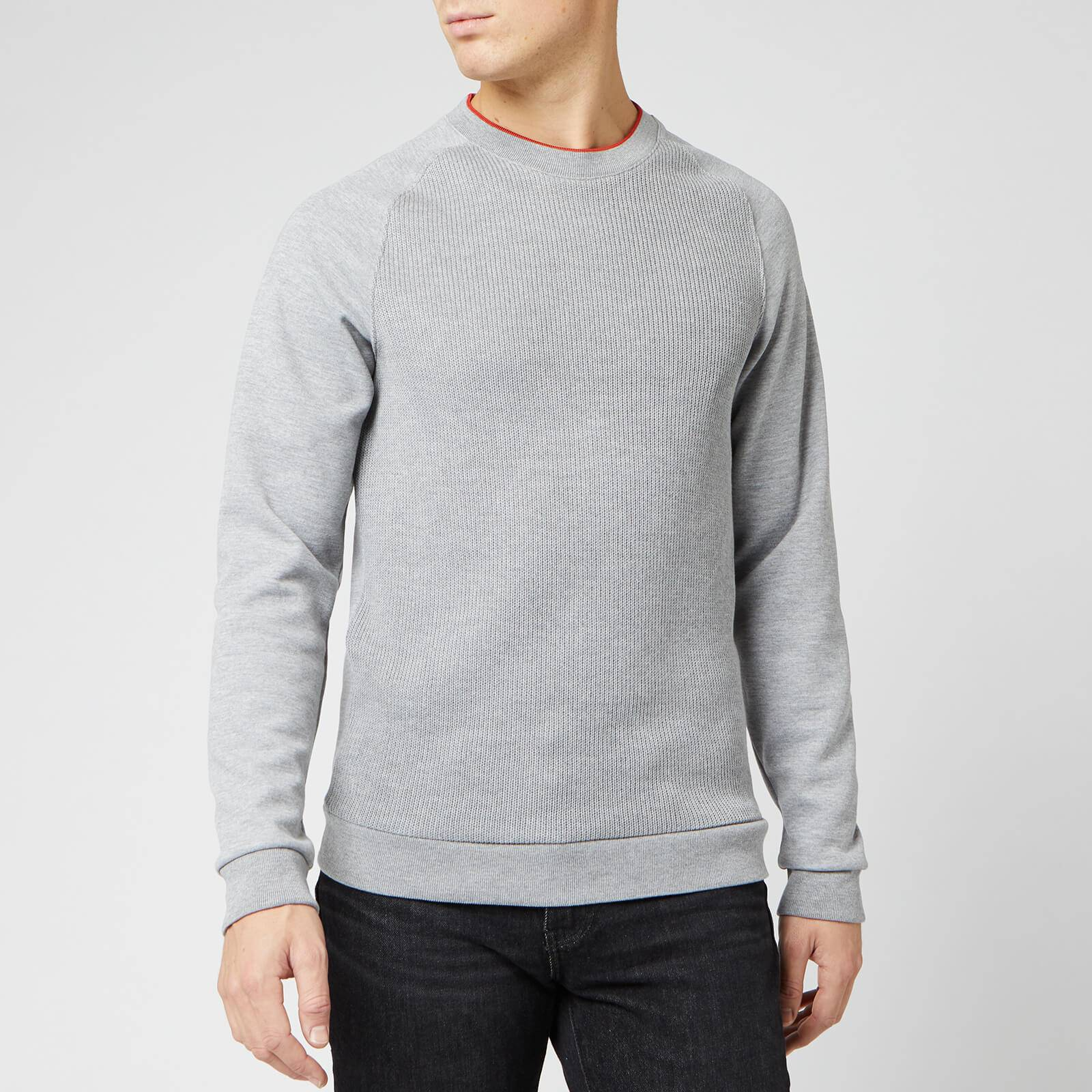 Ted Baker Men's Pied Knit Ribbed Front Cotton Sweatshirt - Grey Marl - M/3