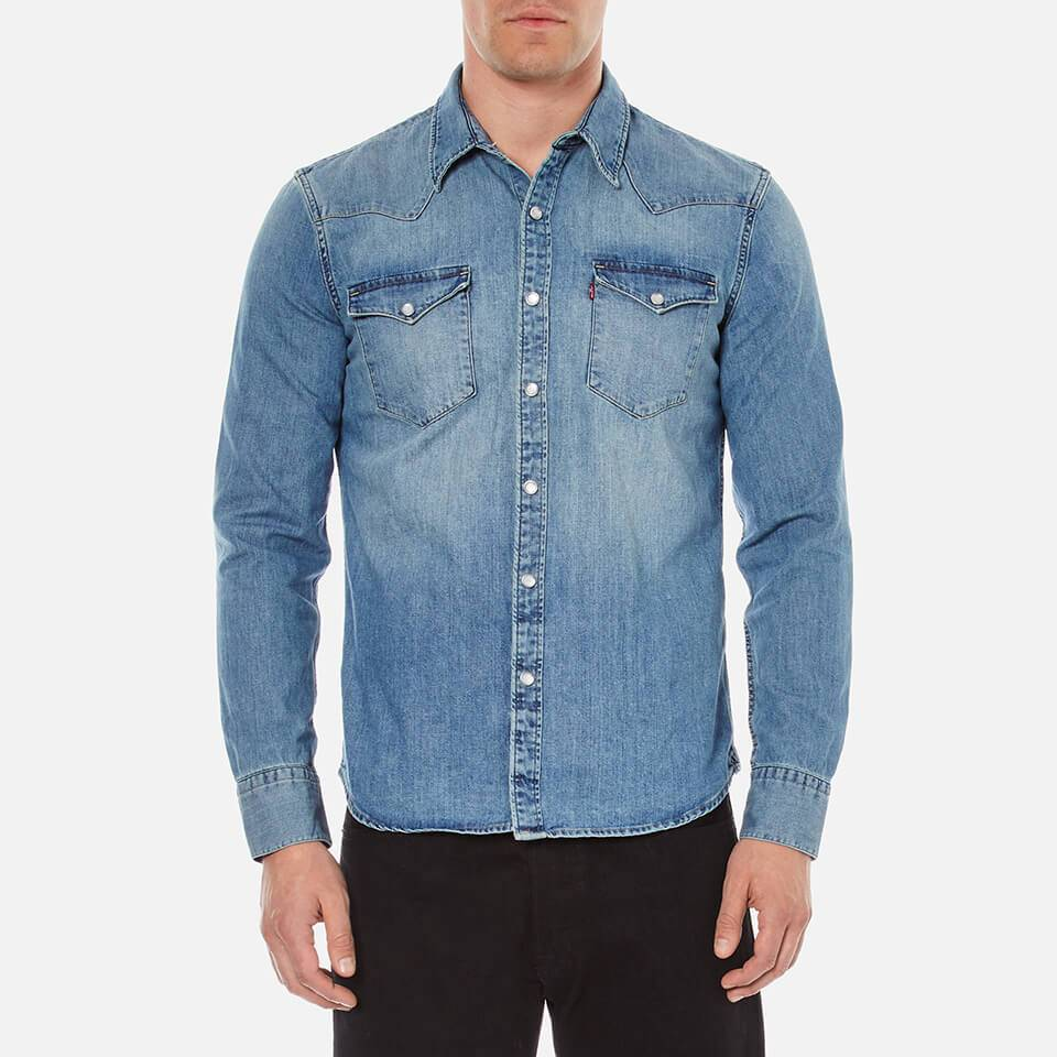 Levi's s Barstow Western Shirt - Red Cast Stone - XL - Blue