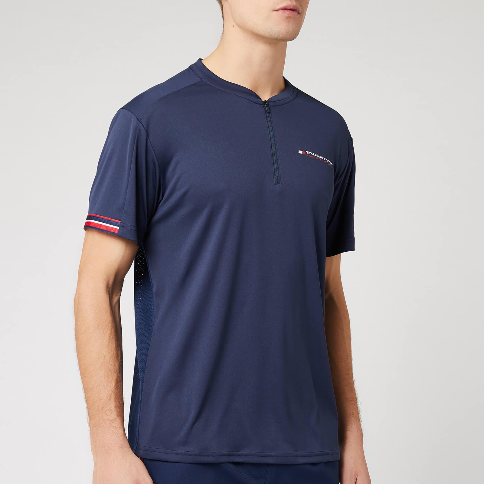 Tommy Sport Men's 1/2 Zip Mesh T-Shirt - Sport Navy - S