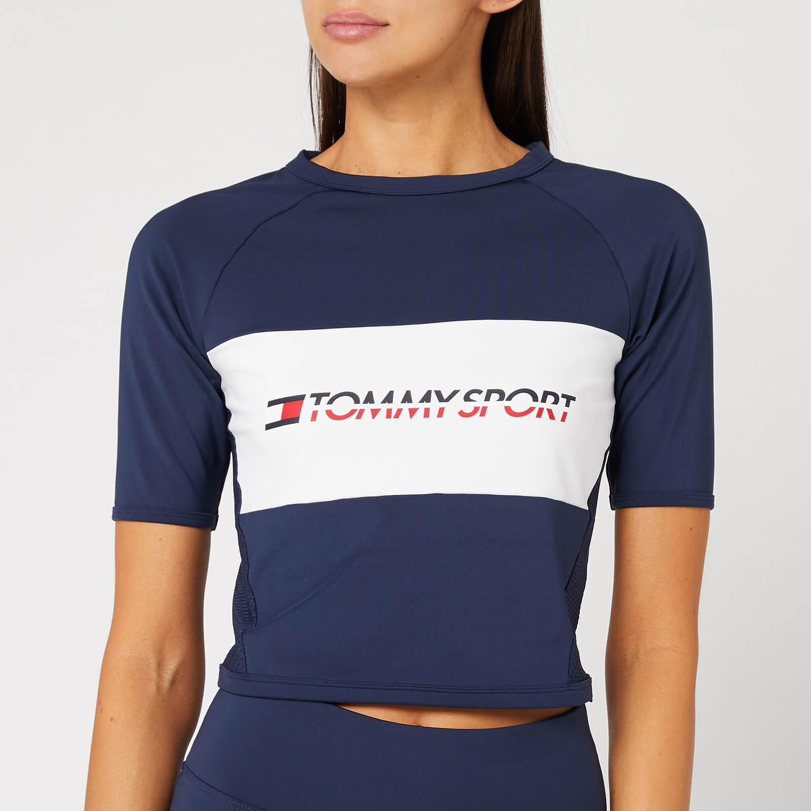 Tommy Sport Women's Cropped Blocked T-Shirt - Sport Navy - L