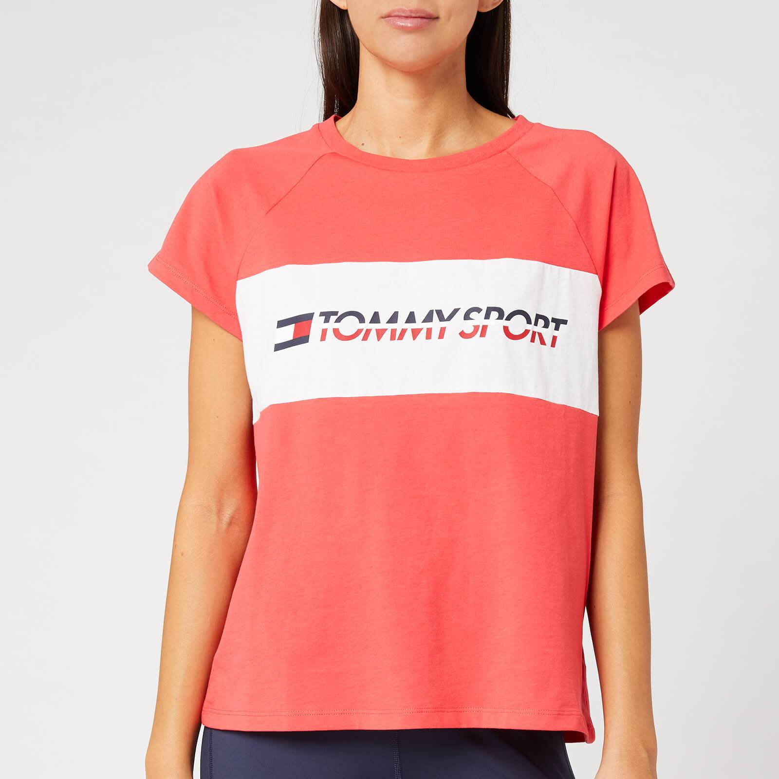 Tommy Sport Women's Short Sleeve Blocked Logo T-Shirt - Hibiscus Red - XS