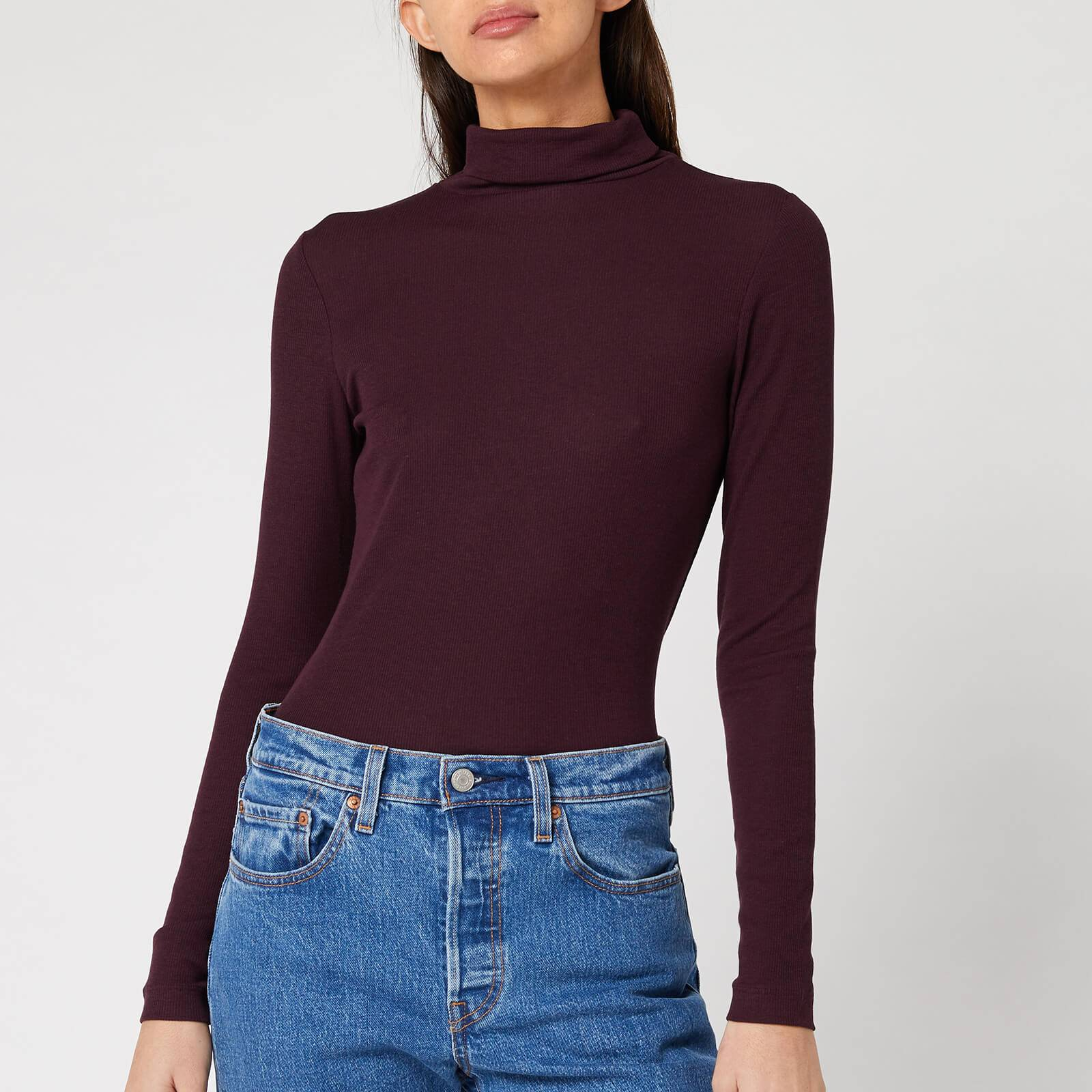 Whistles Women's Essential Polo Neck Top - Burgundy - UK 12