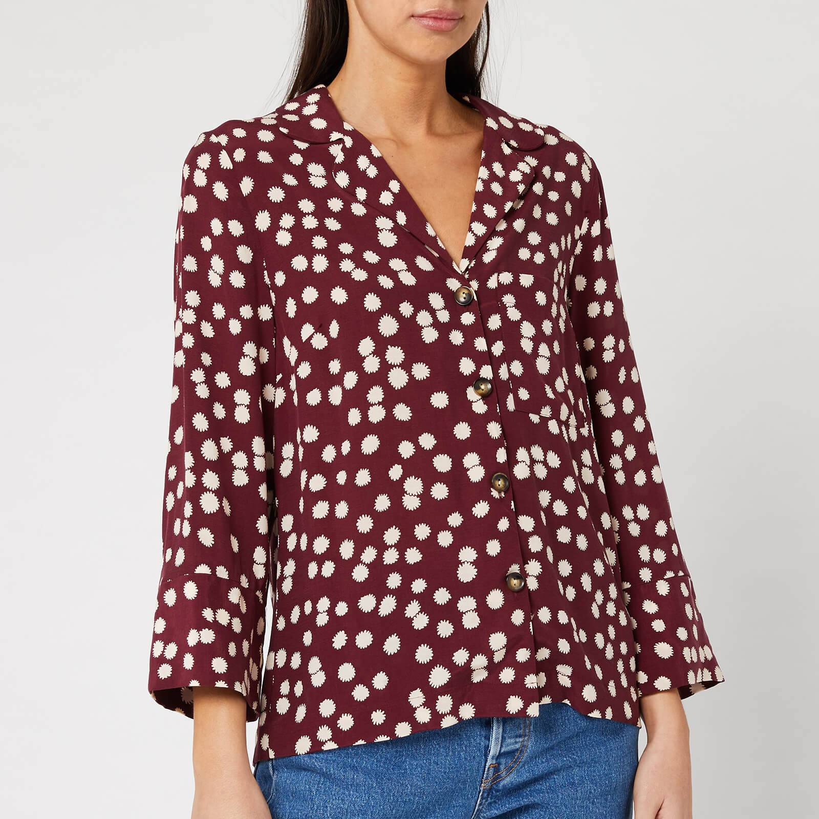 Whistles Women's Illustrated Flower Pyjama Shirt - Burgundy - XS