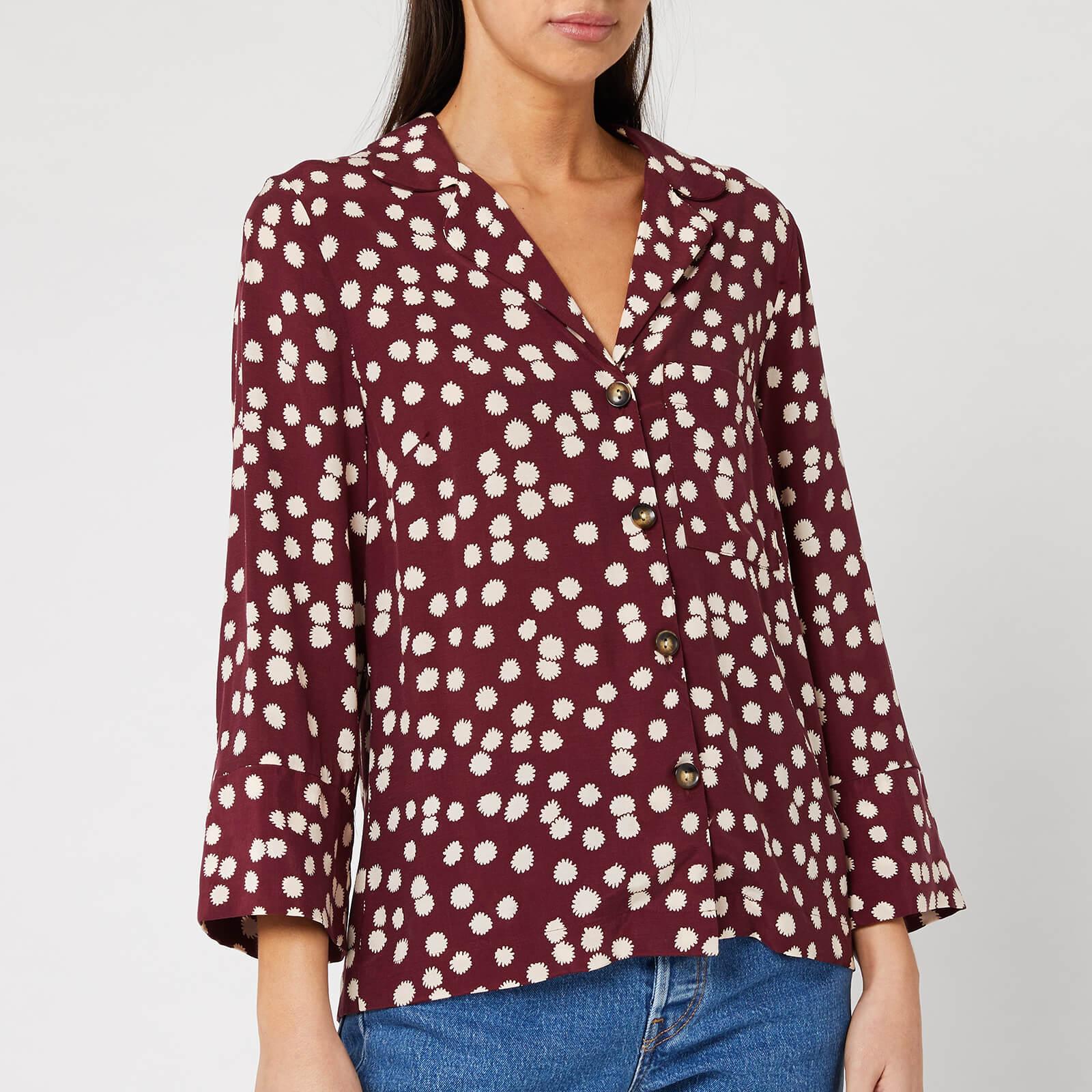 Whistles Women's Illustrated Flower Pyjama Shirt - Burgundy - M