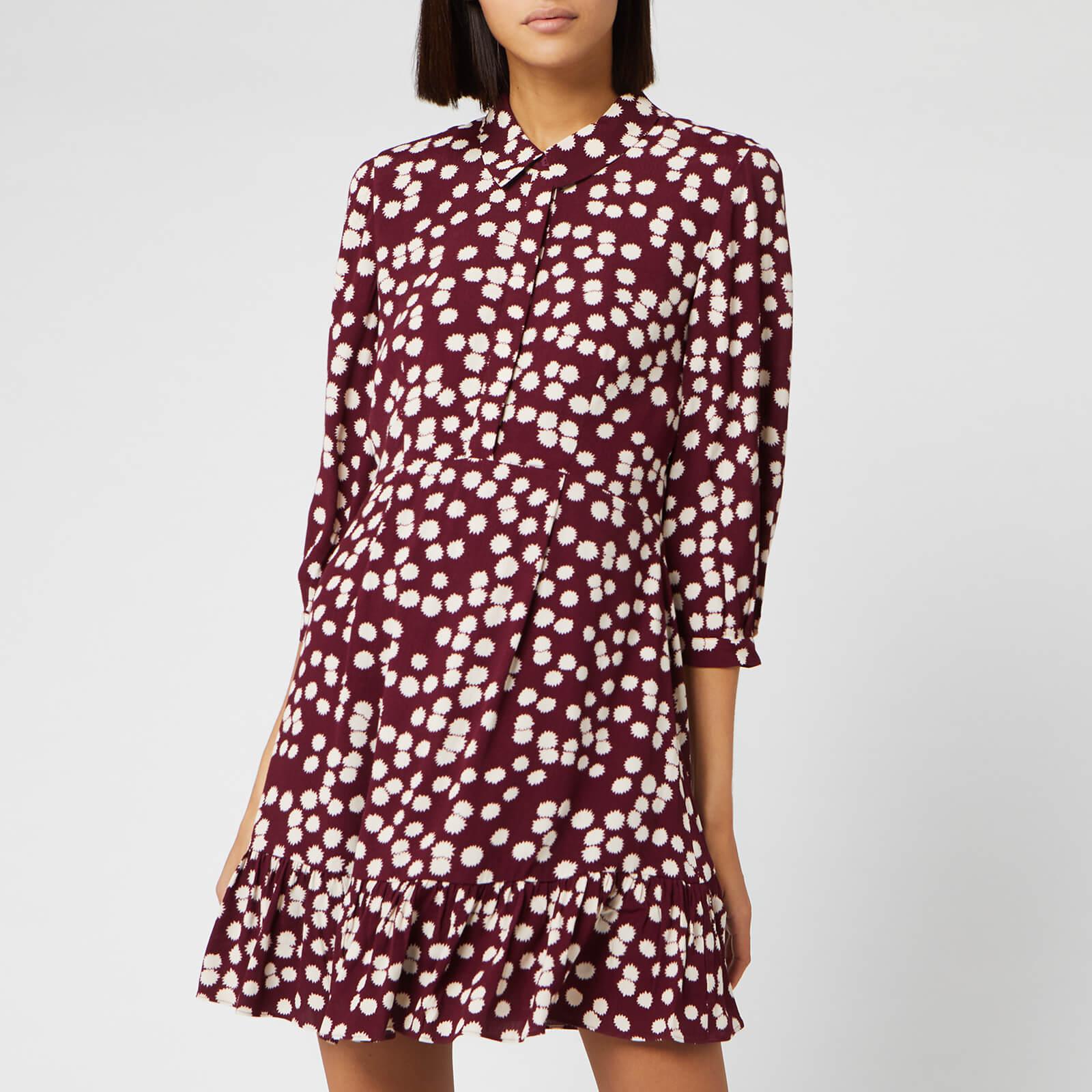 Whistles Women's Agata Illustrated Flower Dress - Burgundy - UK 12