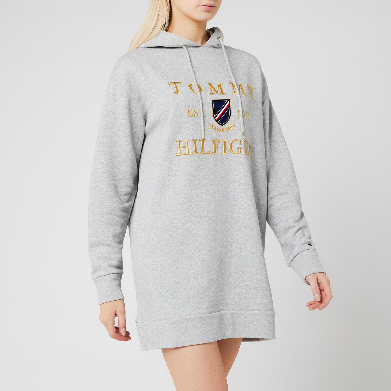 Tommy Hilfiger Women's Kristal Hooded Terry Dress Long Sleeve - Light Grey Heather - M
