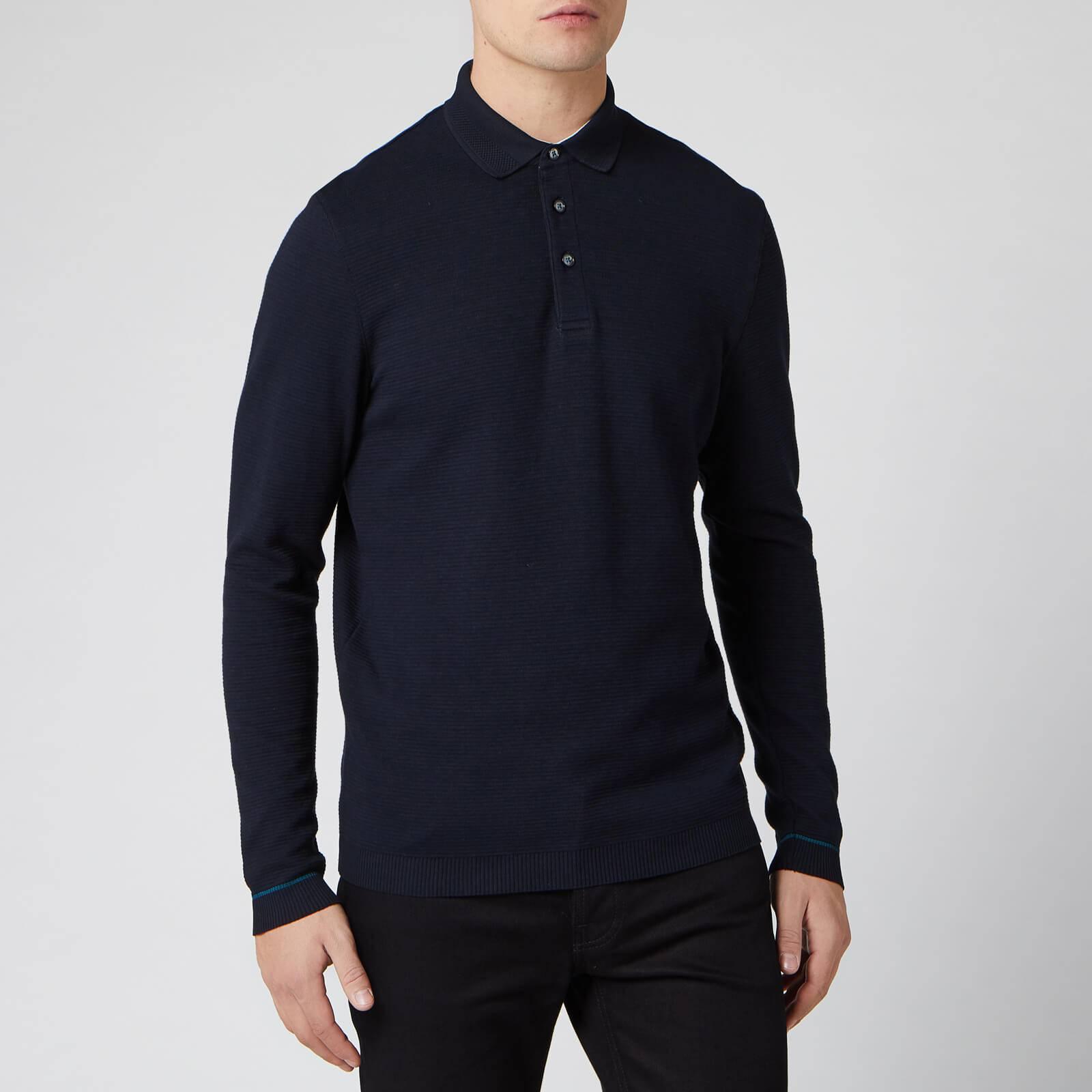 Ted Baker Men's Terned Long Sleeve Cotton Top - Navy - S/2