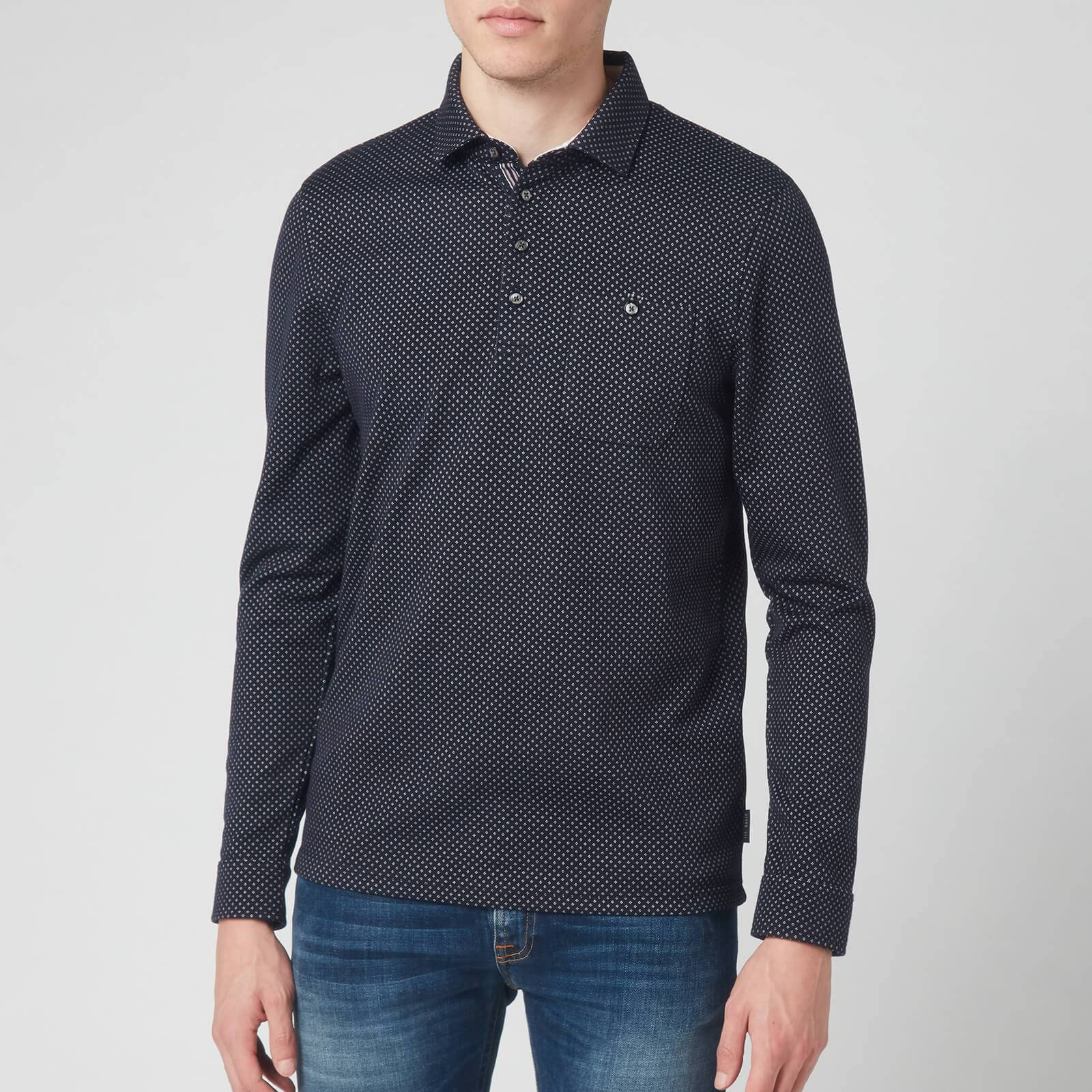 Ted Baker Men's Out Of Long Sleeve Jacquard Polo Shirt- Navy - M/3