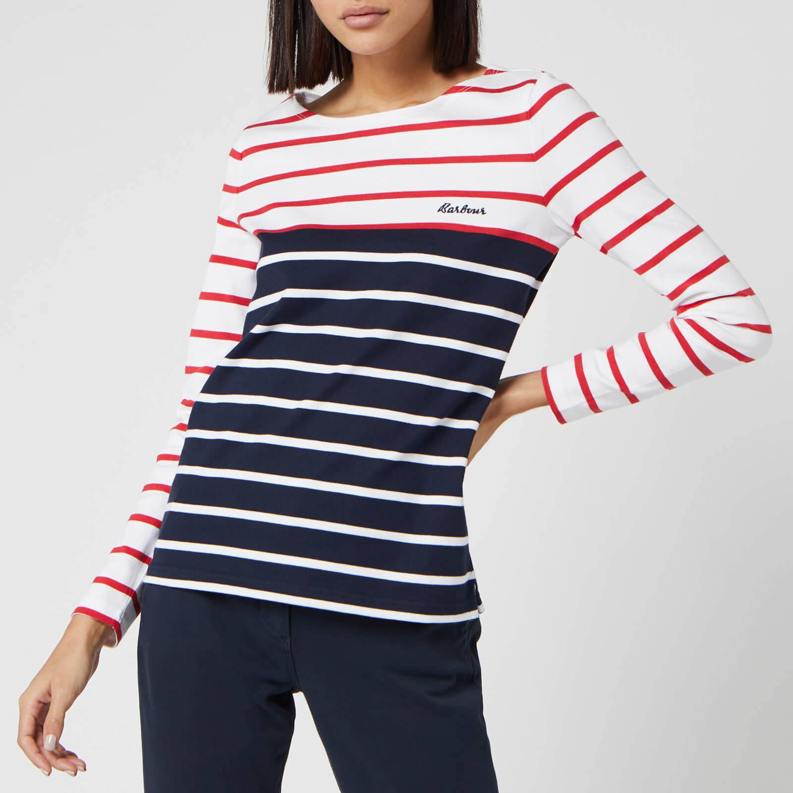 Barbour Women's Hawkins Breton Stripe Long Sleeve Top - White/Brick Red - UK 12