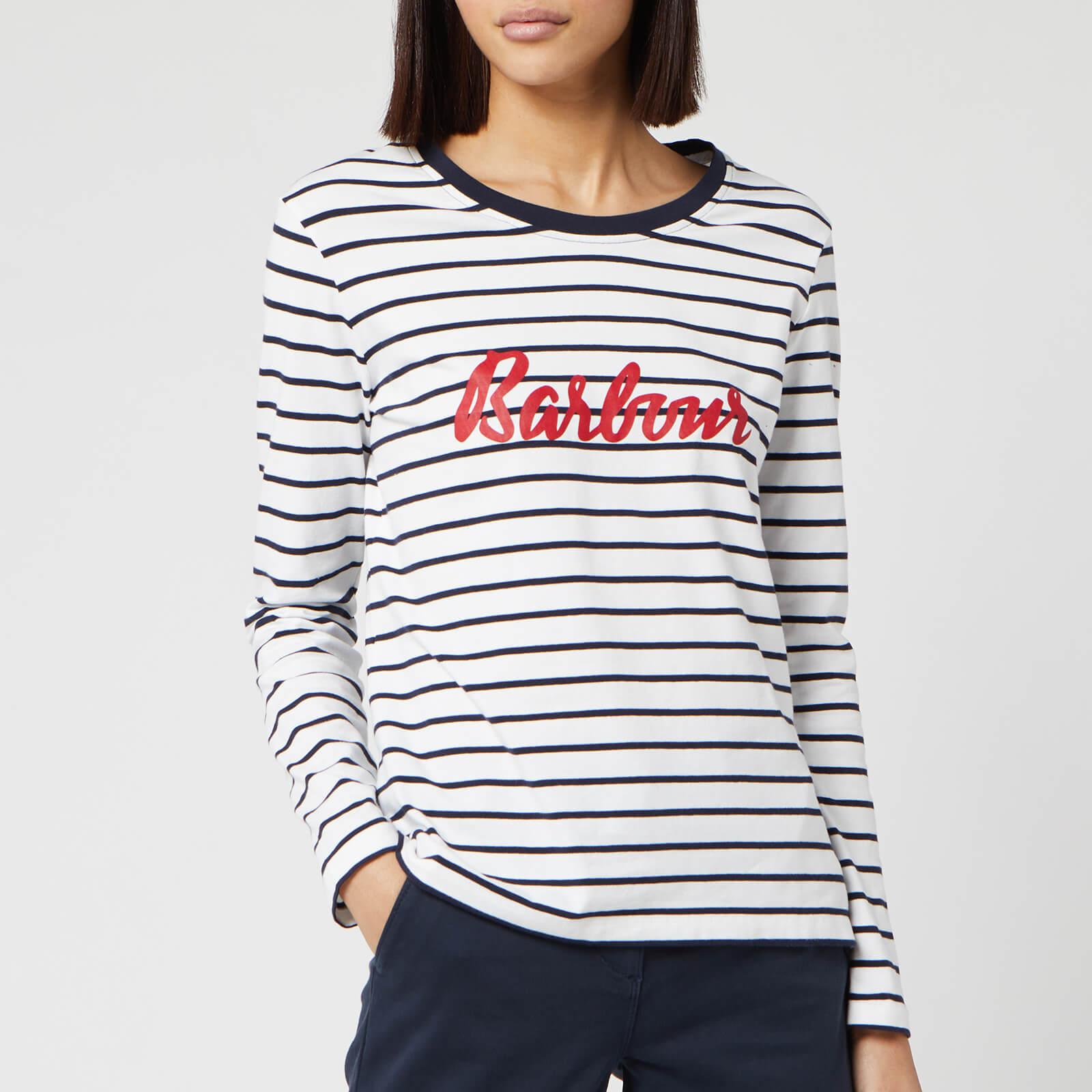 Barbour Women's Kielder Short Sleeve T-Shirt - White/Navy - UK 8
