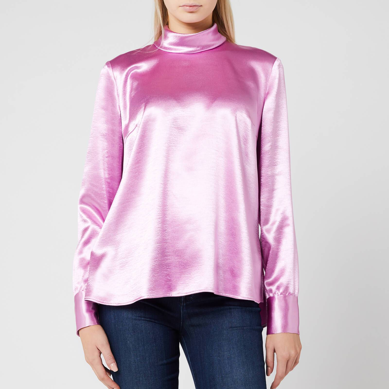 Hugo Boss Women's Cayanas Satin Long Sleeve Top - Light/Pastel Purple - UK 8