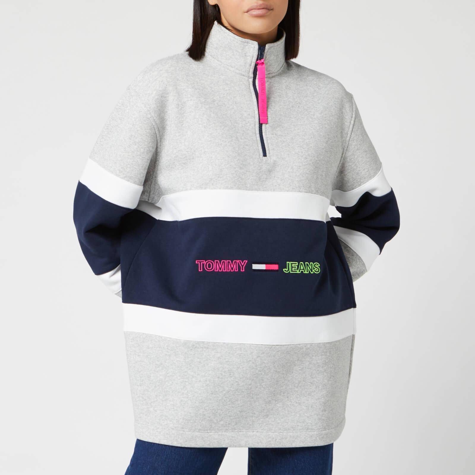 Tommy Jeans Women's Colourblock Mock Neck Sweatshirt - Light Grey Heather - S