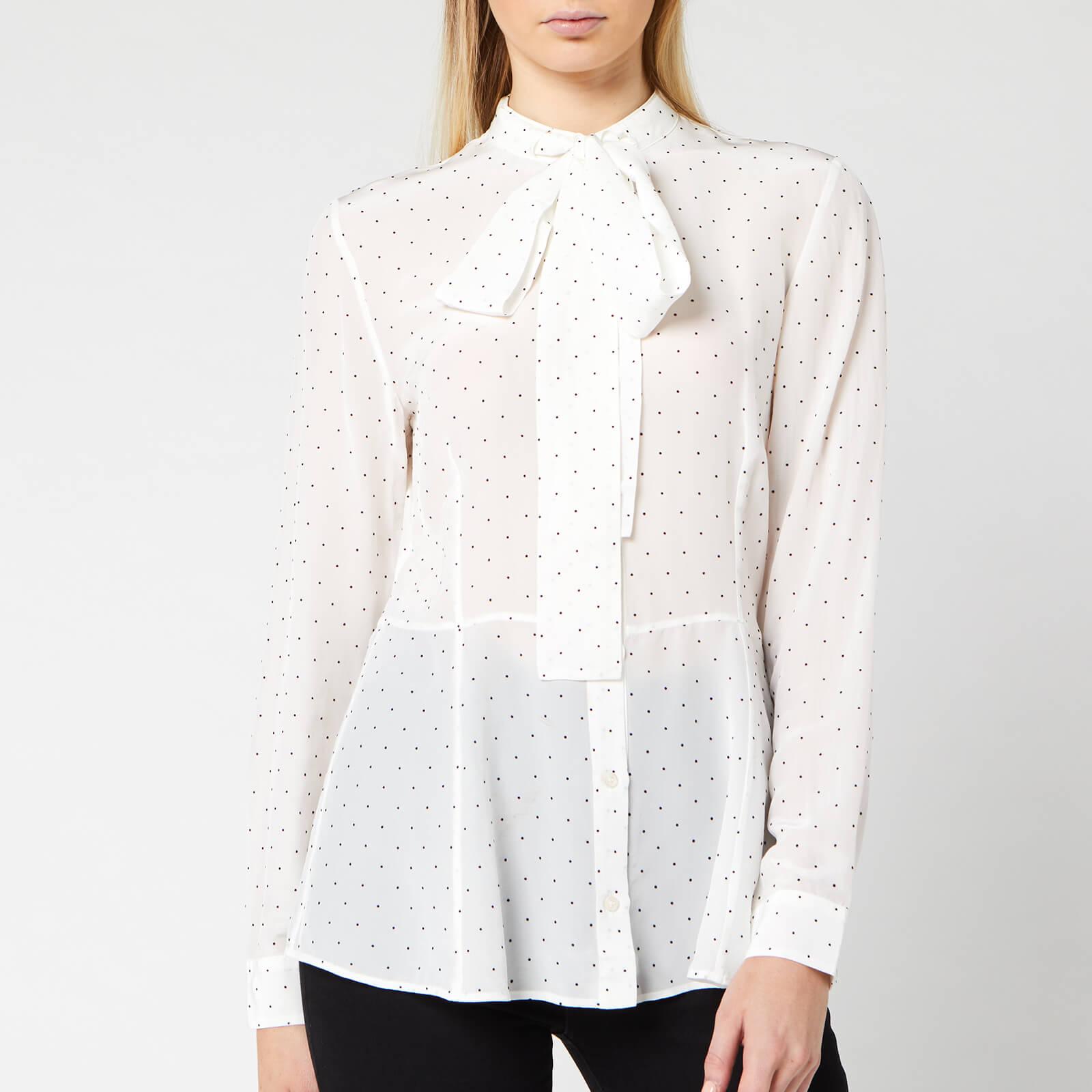 Boss Women's Elkasia Blouse - White Polka Dot - UK 14