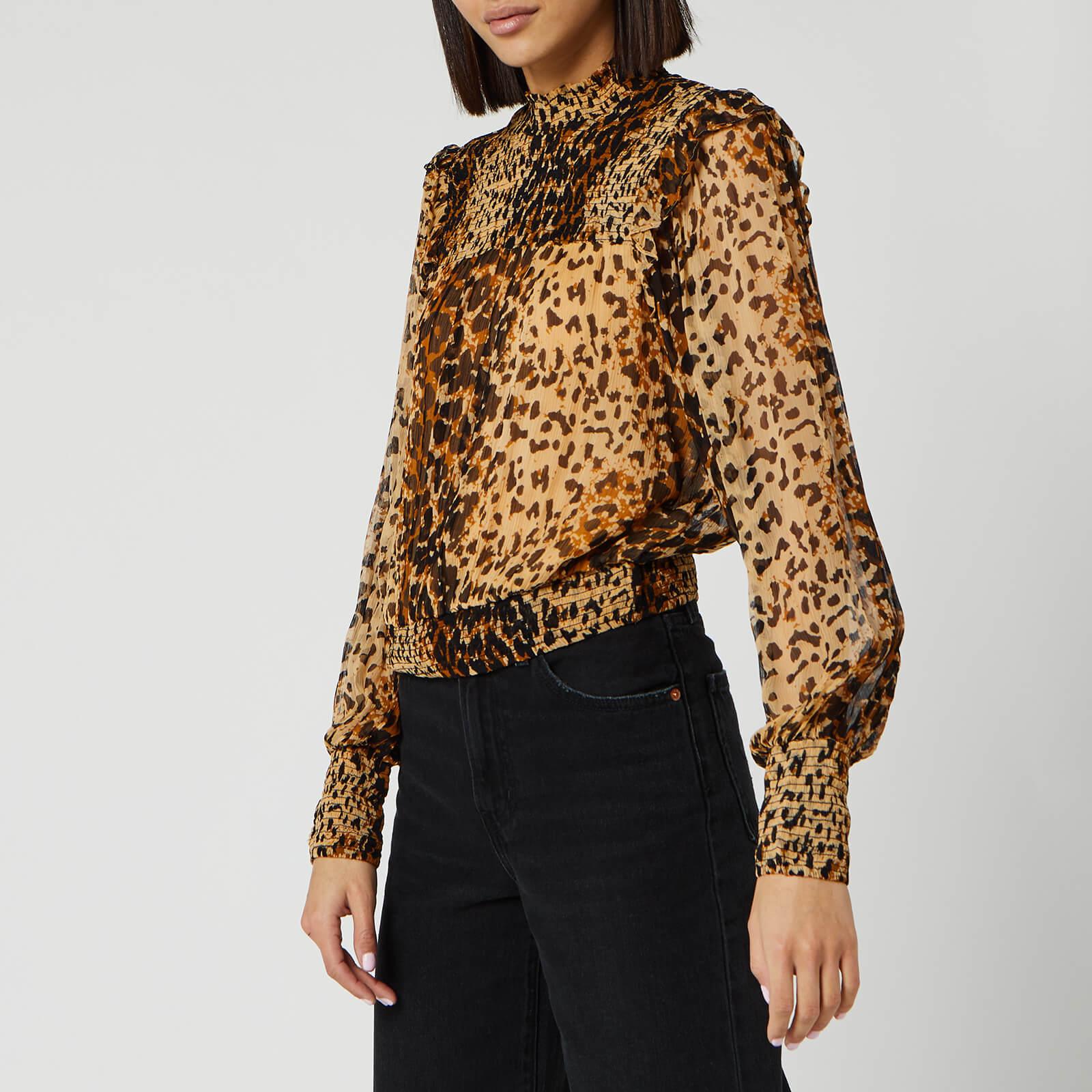 Free People Women's Roma Blouse - Brown Leopard - L