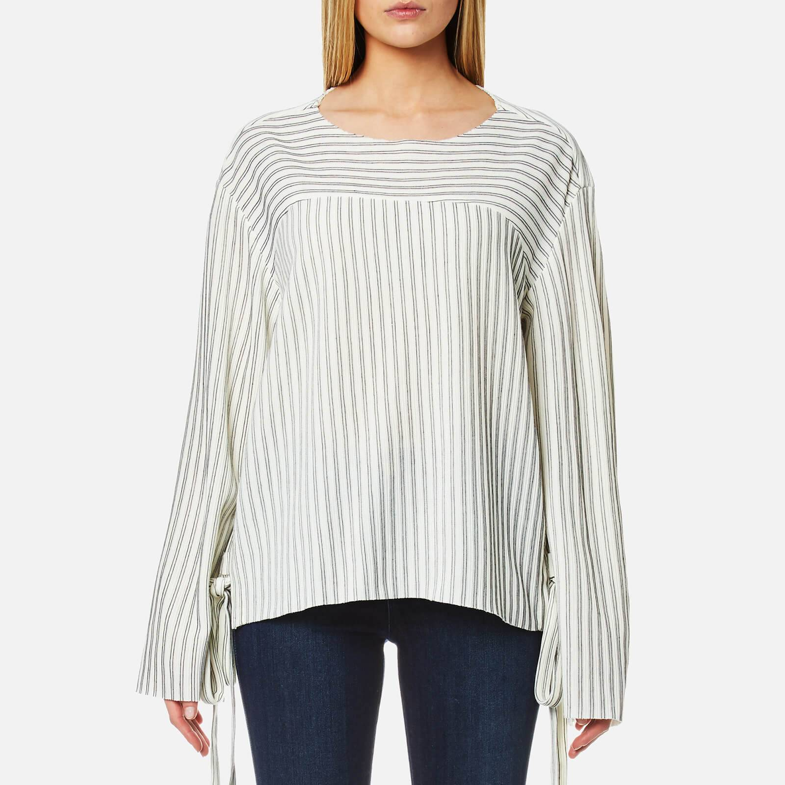 House of Sunny Women's Lace Up Stripe Top - Stripp - UK 12 - White