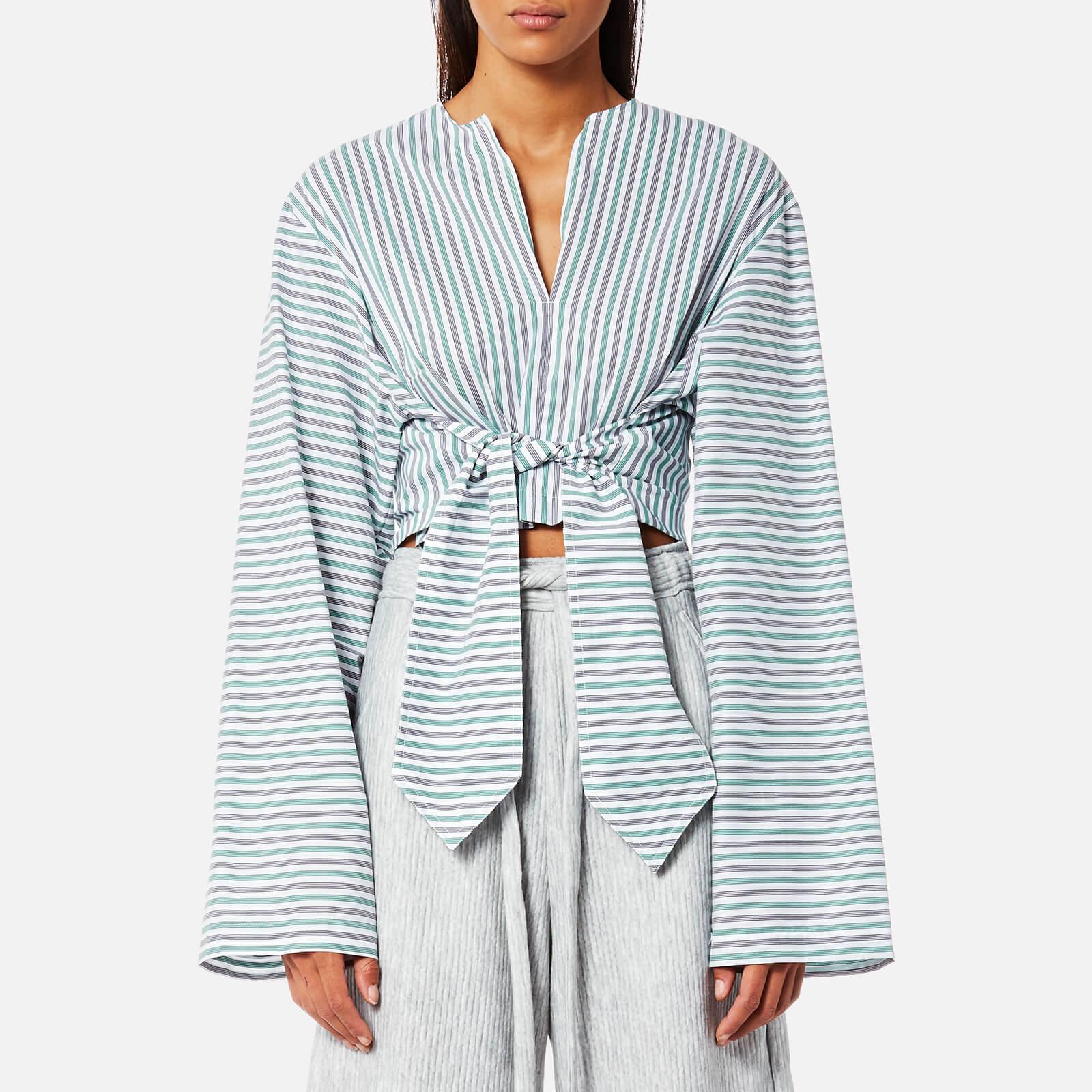 House of Sunny Women's Wrangler Shirt with Tie Front - Stripe - UK 8 - Multi