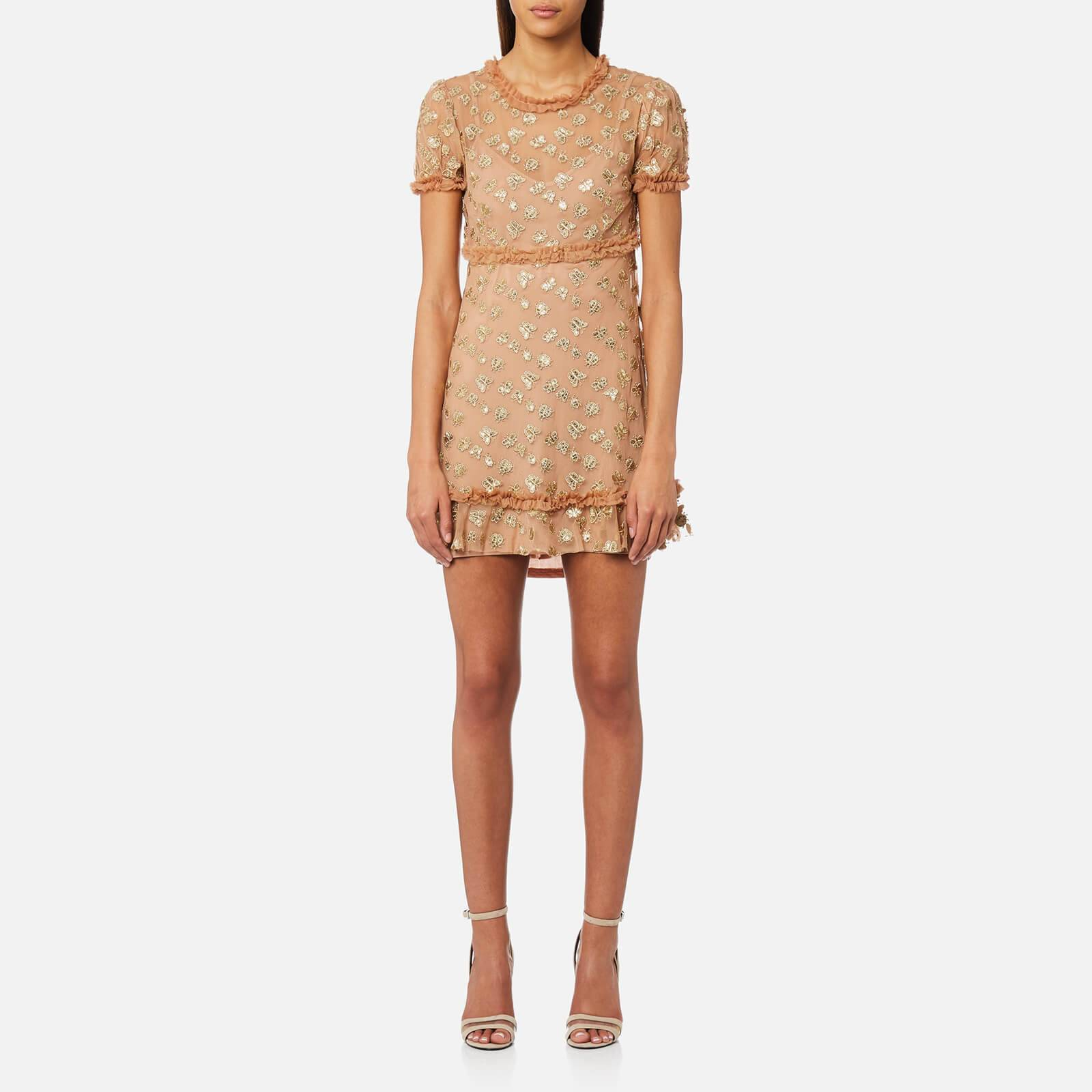 For Love & Lemons Women's Golden Garden Tulle Mini Dress - Gold - S - Gold