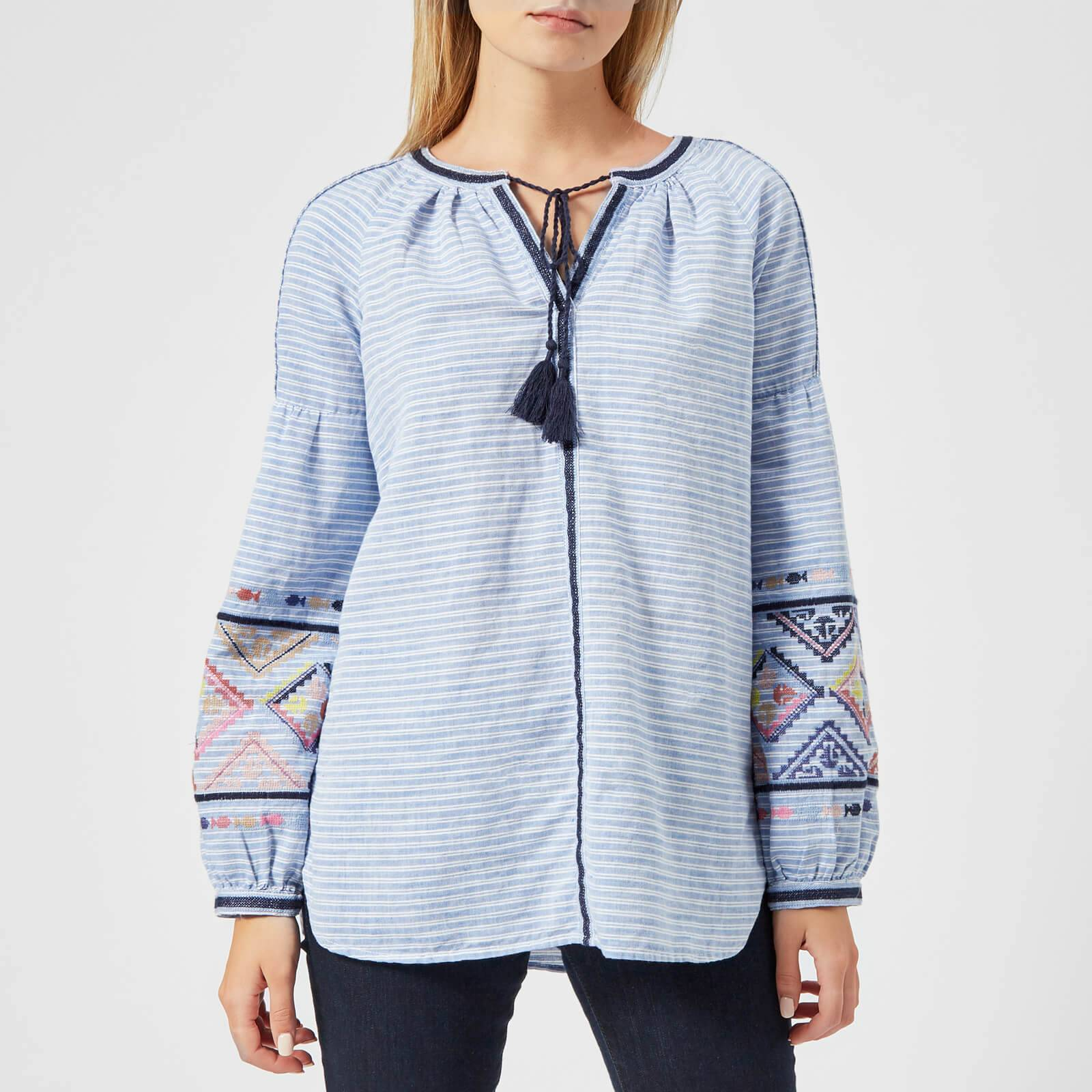 Joules Women's Yolanda Long Sleeve Embroidered Shirt - Light Blue Steel - UK 14 - Blue