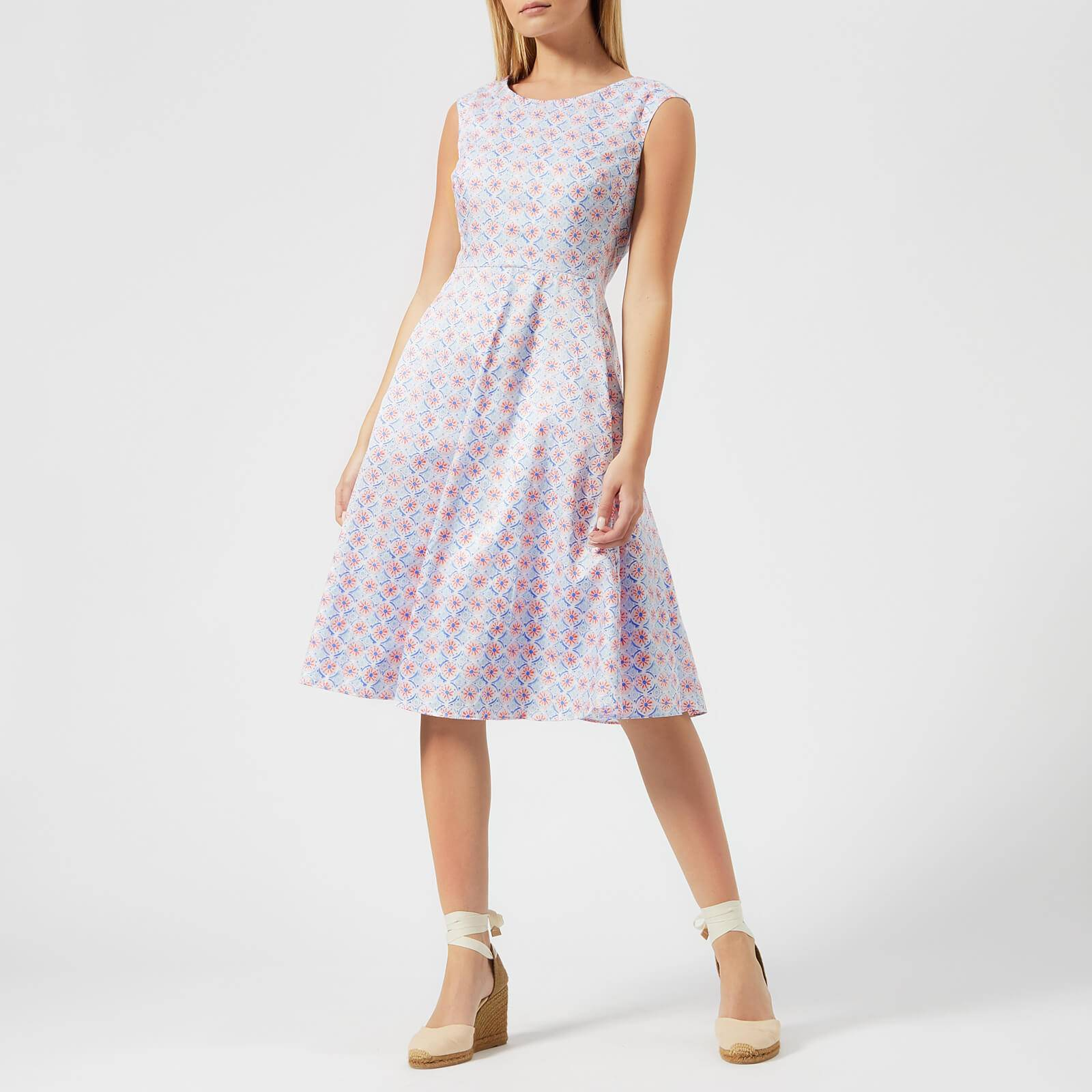 Joules Women's Amelie Fit and Flare Dress - White Summer Mosaic - UK 14 - White