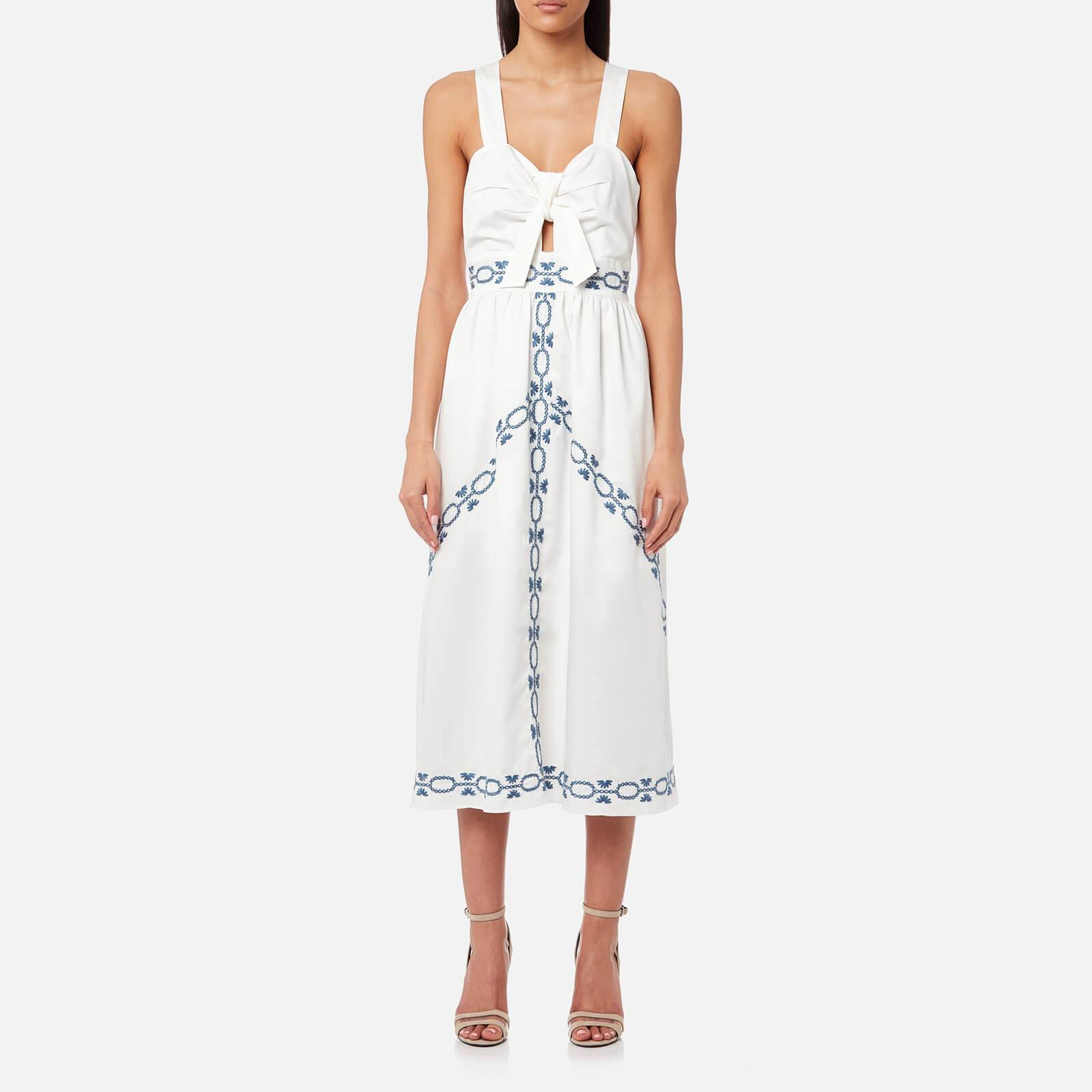 Foxiedox Women's Spellgirl Embroidery Midi Dress - White/Blue - S - White