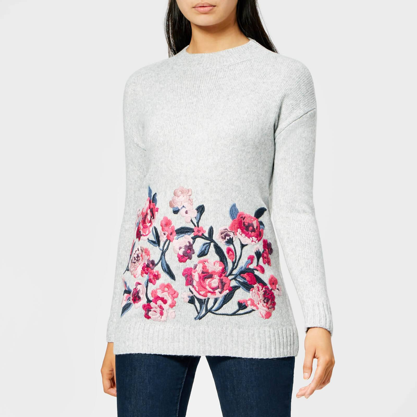 Joules Women's Penny Embroidered Jumper - Grey Marl - UK 14 - Grey