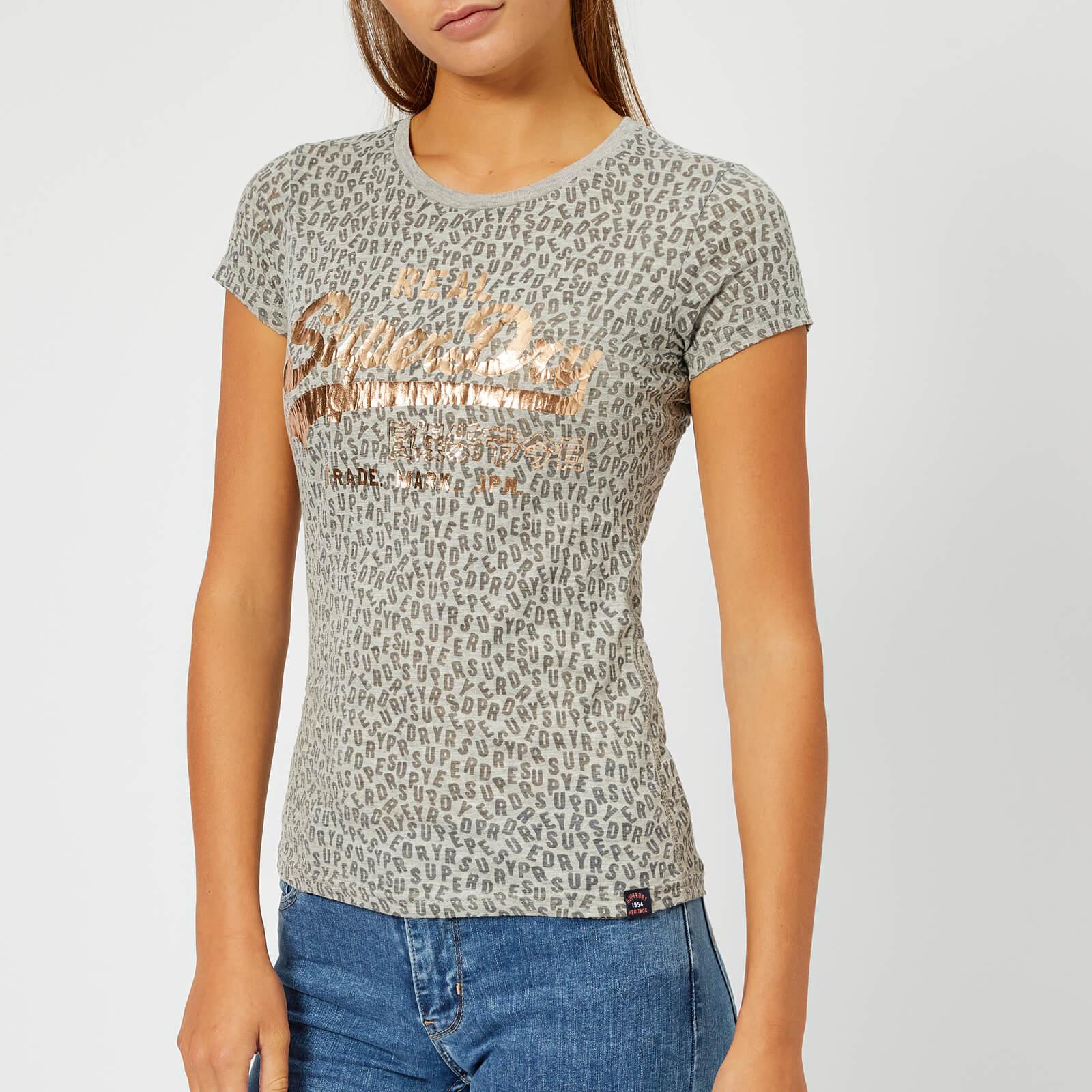 Superdry Women's Vintage Logo Aop Burn Out Entry T-Shirt - Grey Marl - UK 10 - Grey