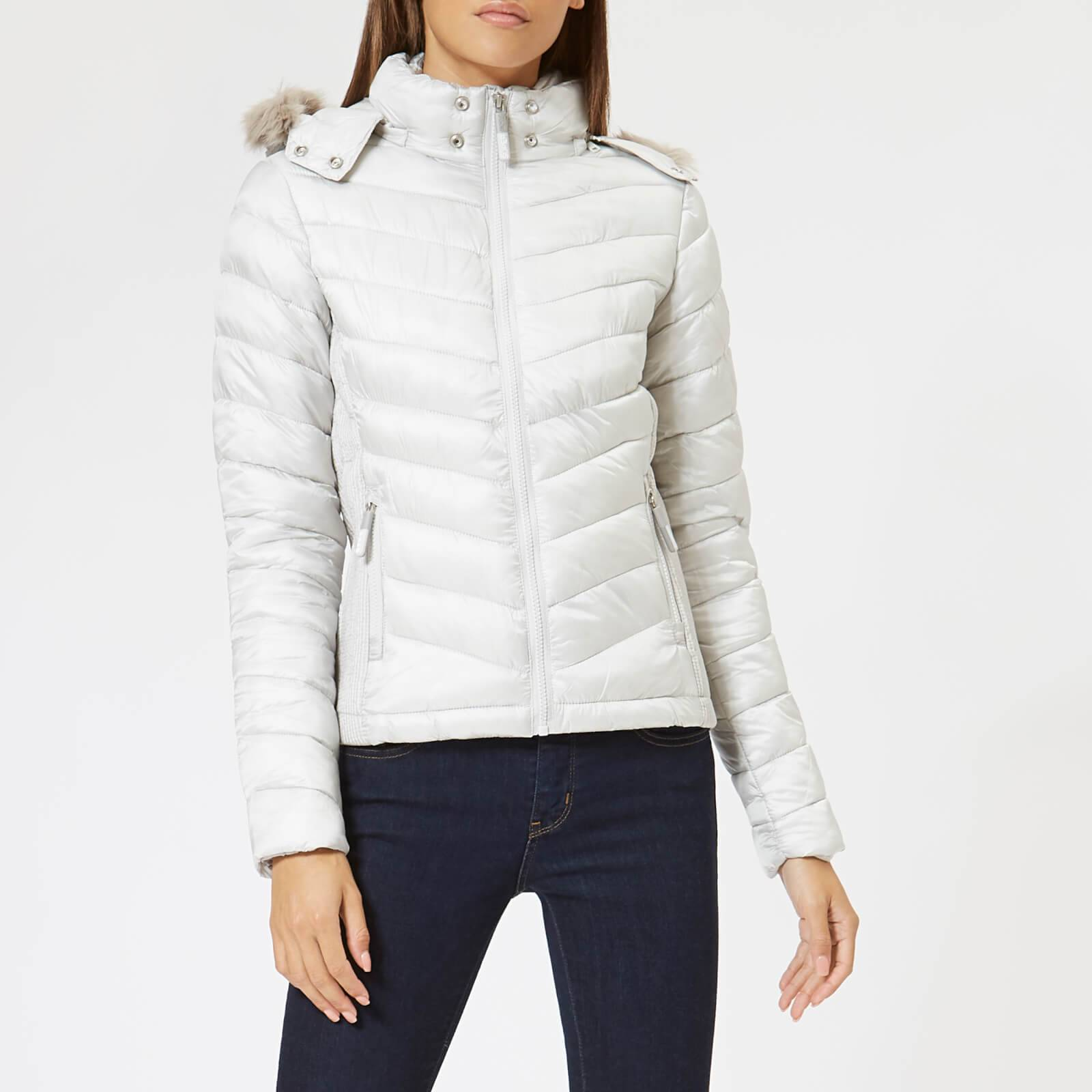 Superdry Women's Hooded Luxe Chevron Fuji Jacket - Pearl - UK 14 - White