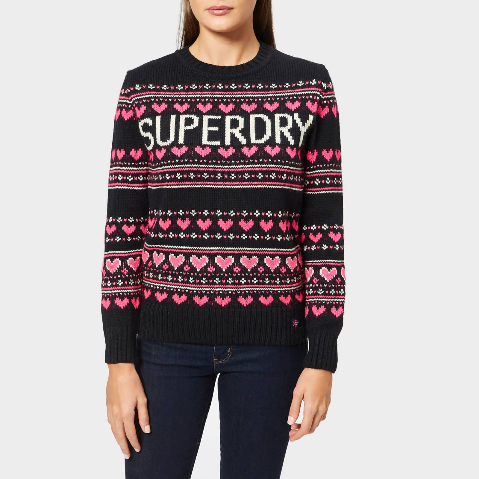 Superdry Women's Cleveland Fairisle Knit Jumper - Soft Navy - UK 14 - Blue