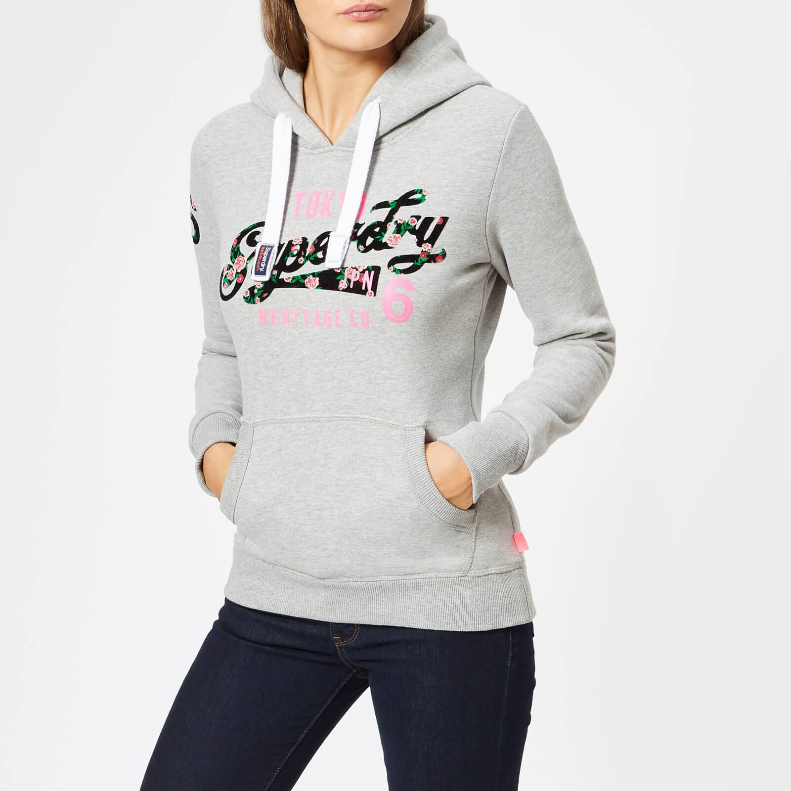 Superdry Women's Heritage Flock Entry Hoodie - Grey Marl - UK 14 - Grey