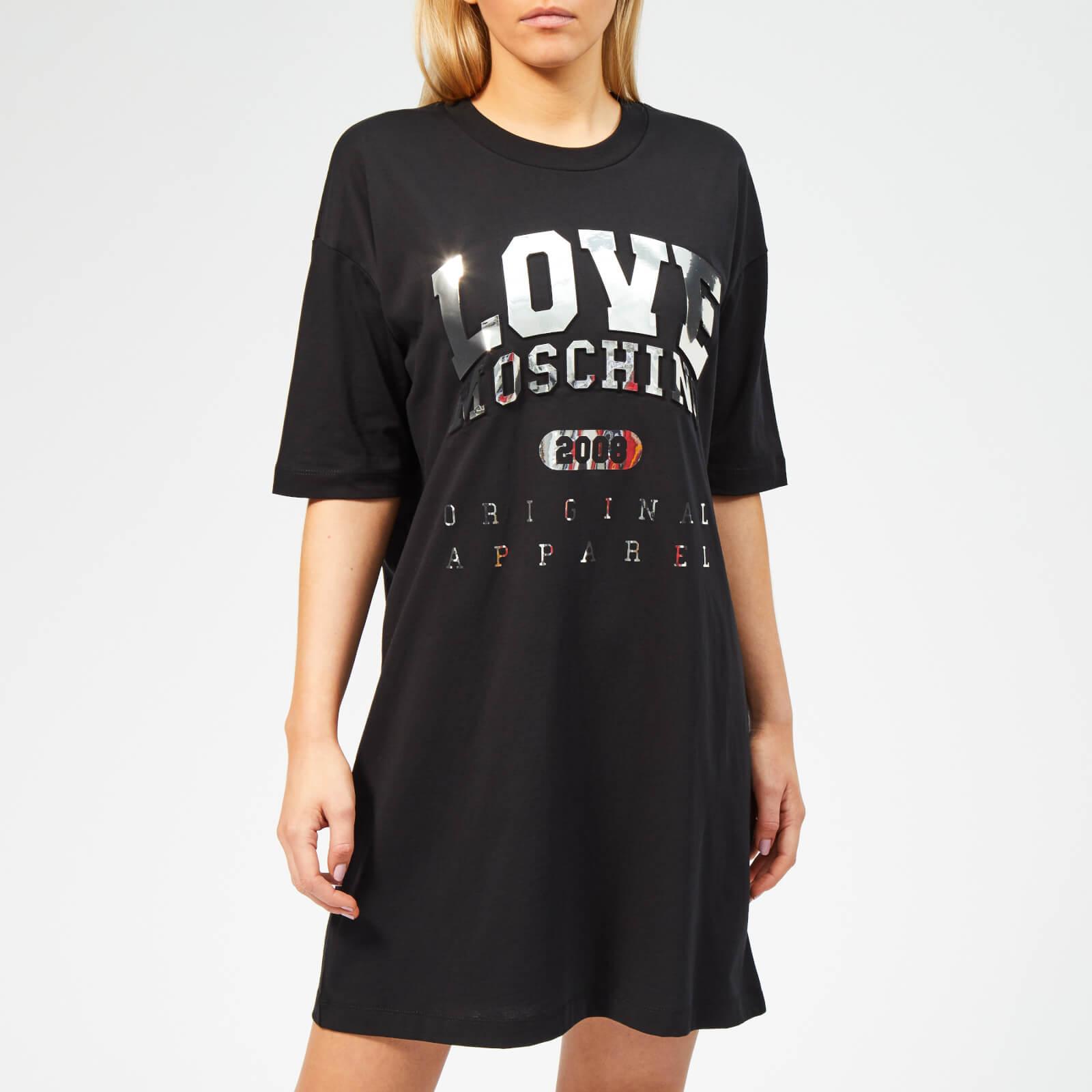 Moschino Love Moschino Women's Logo Embossed T-Shirt Dress - Black - IT 42/UK 10 - Black