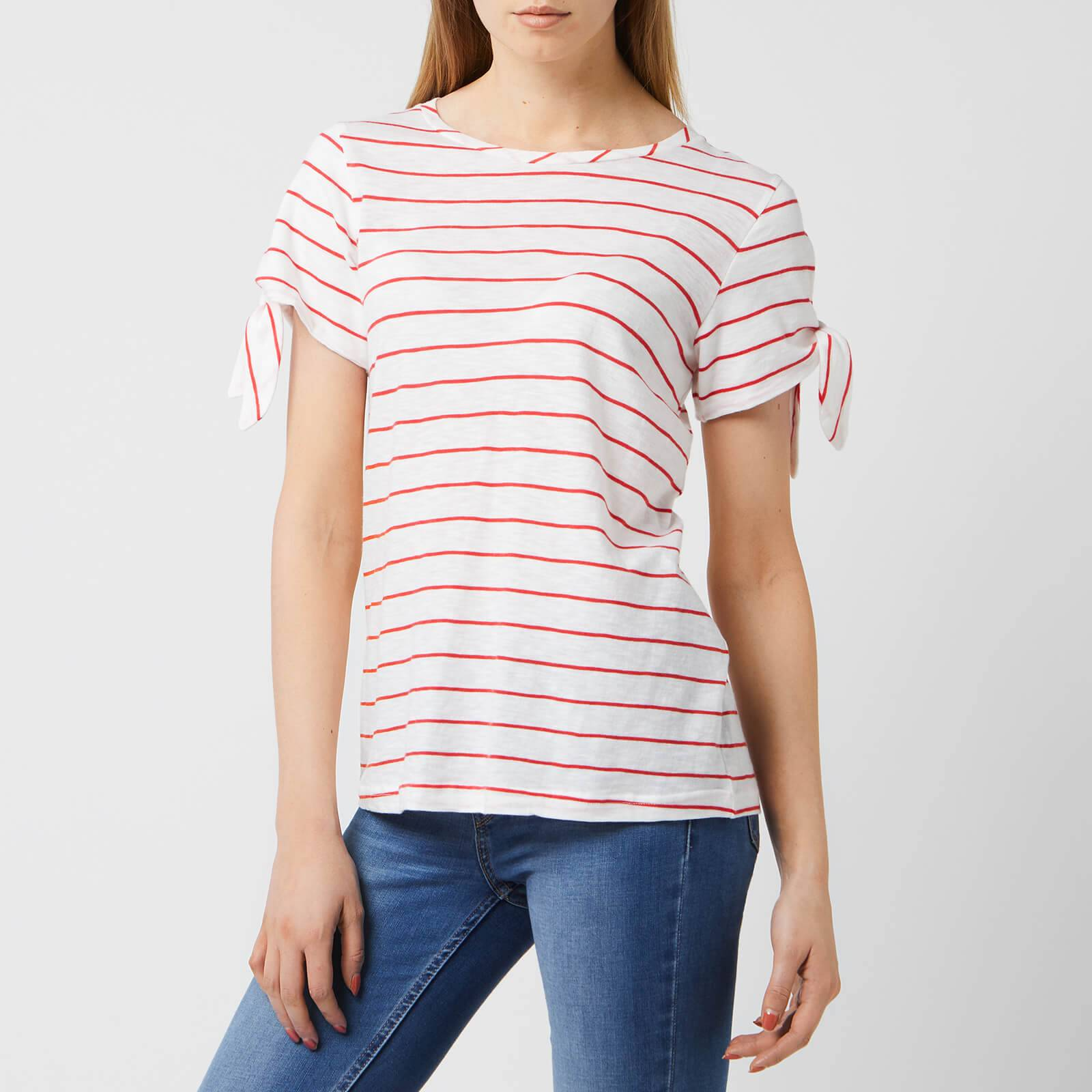 Joules Women's Tiggy Tie Sleeve Jersey Top - White Red Stripe - UK 12 - Red