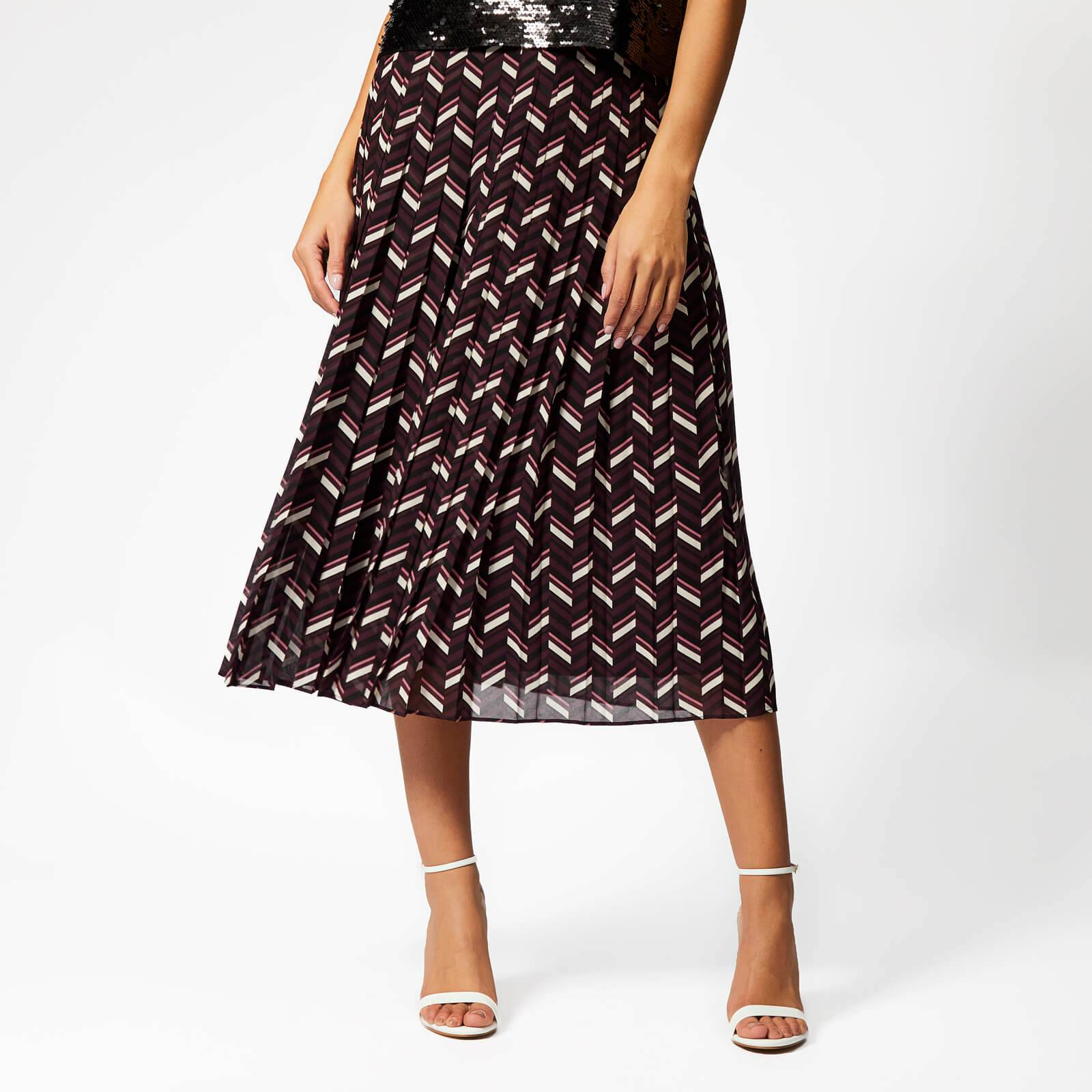 MICHAEL MICHAEL KORS Women's Chevron Pleat Skirt - Cordovan - US 2/UK 6 - Multi